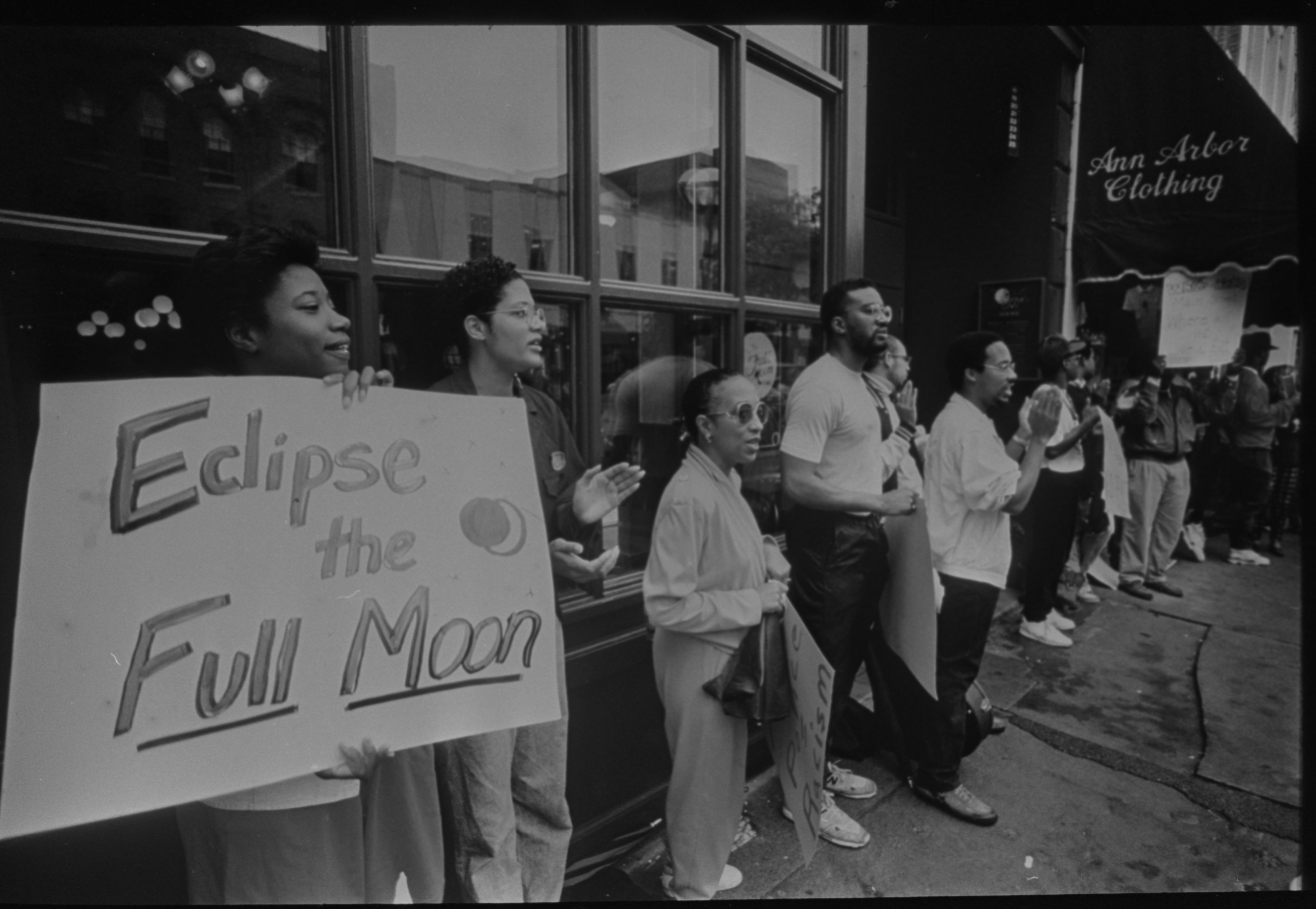 Protesters Outside Full Moon Restaurant Call For Boycott, August 1990 image