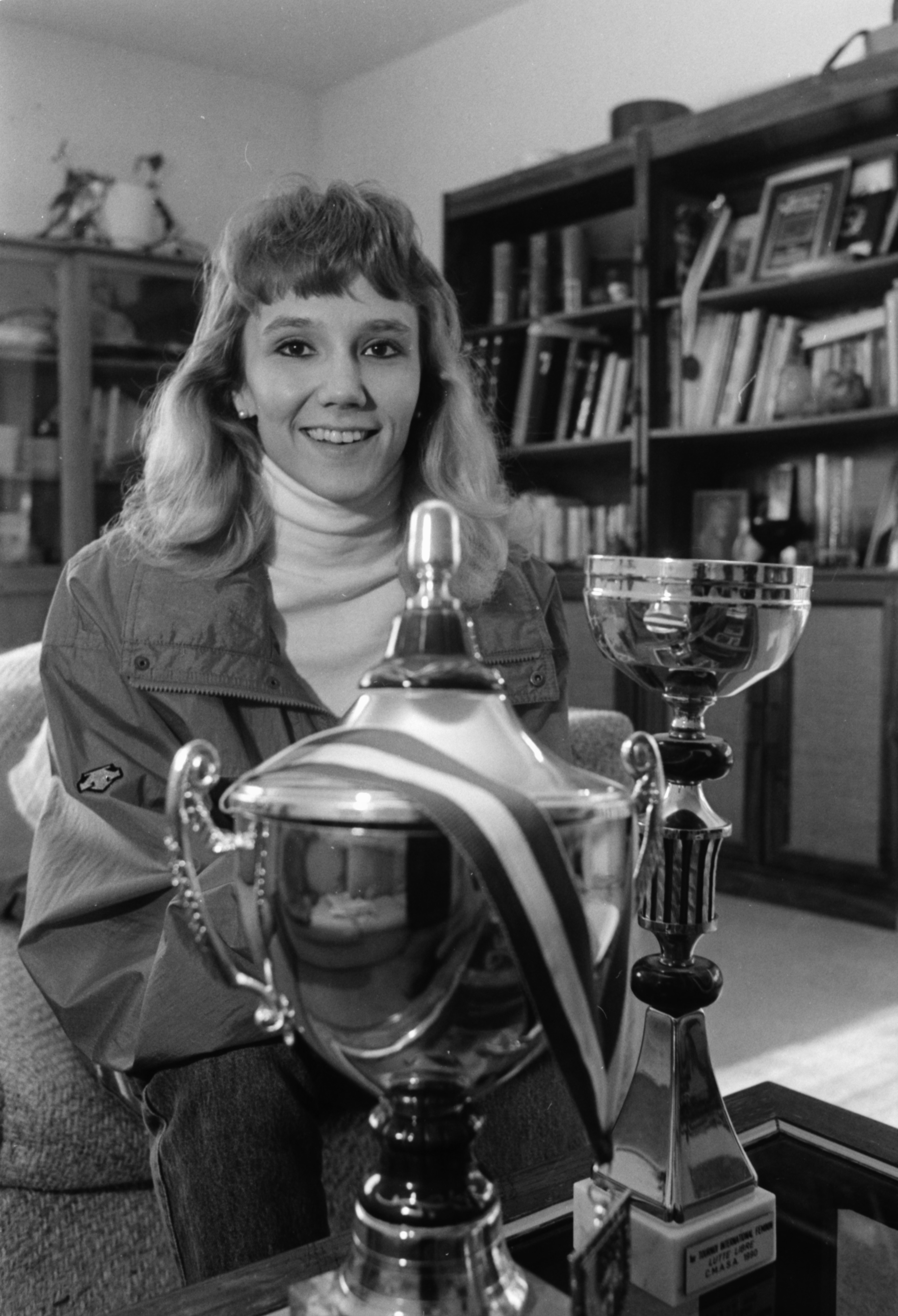 Tricia McNaughton With Wrestling Awards She Won In Europe, December 1990 image