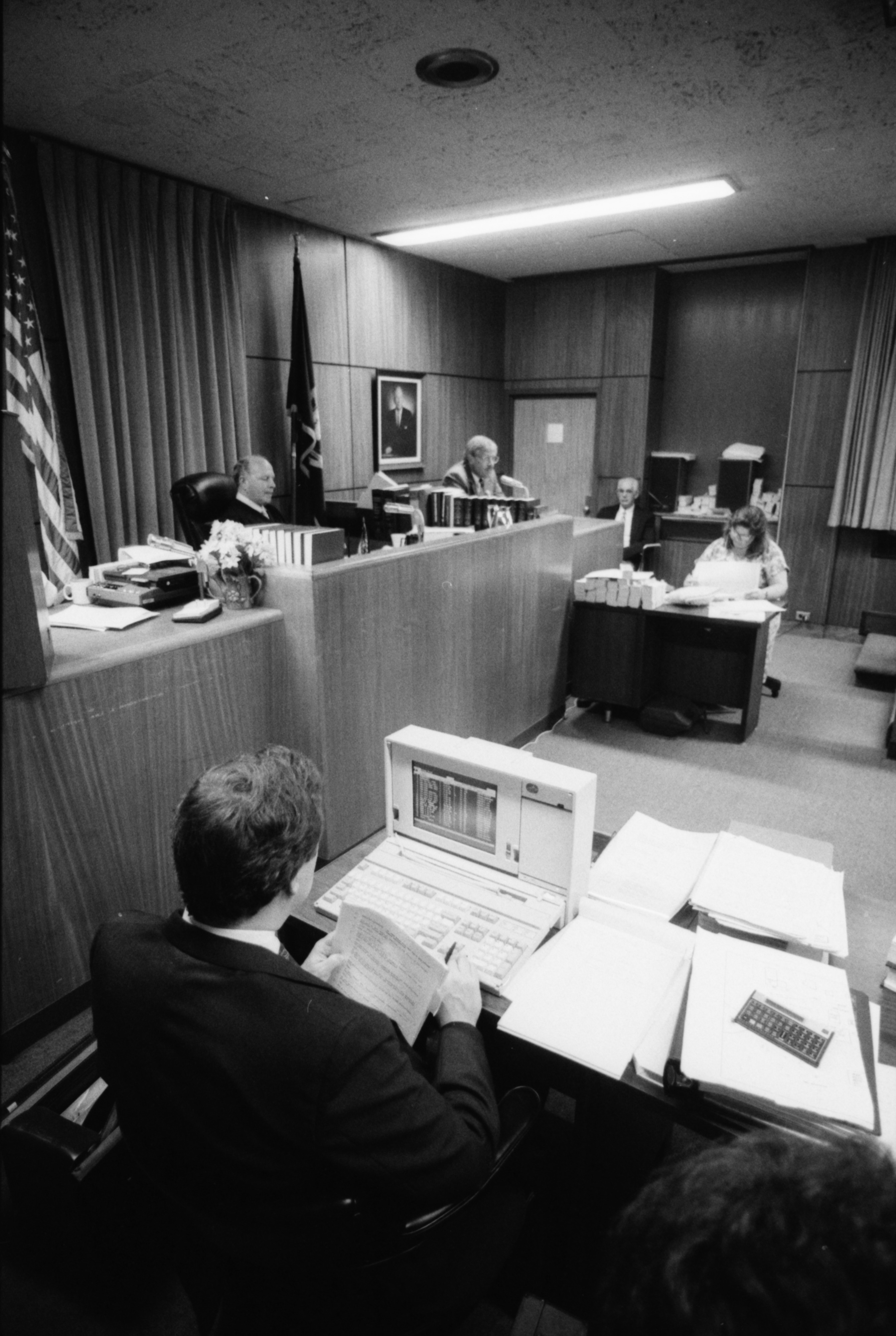 Attorney Alan Wasserman at Computer, Gelman Sciences trial, August 1990 image