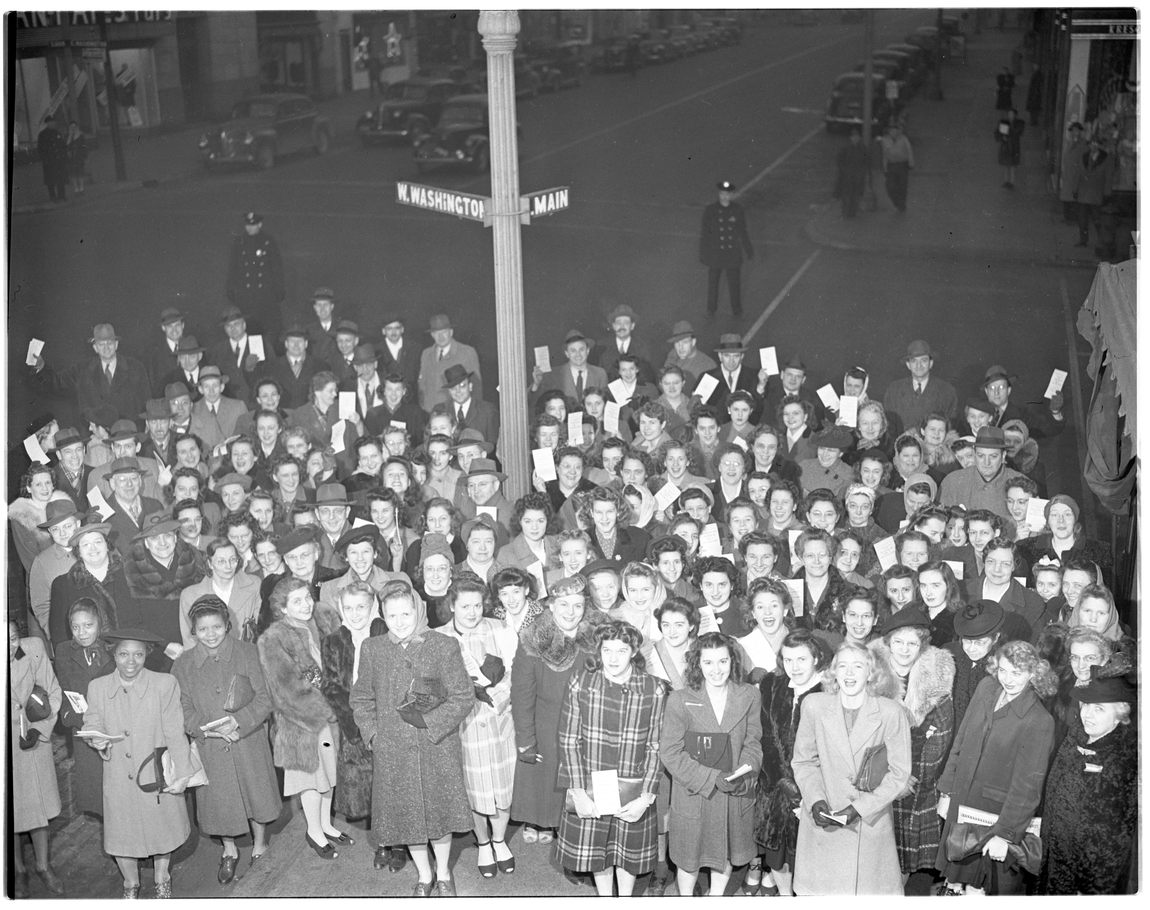 Clerks Gather on Main Street for 4th War Bond Drive, January 1944 image