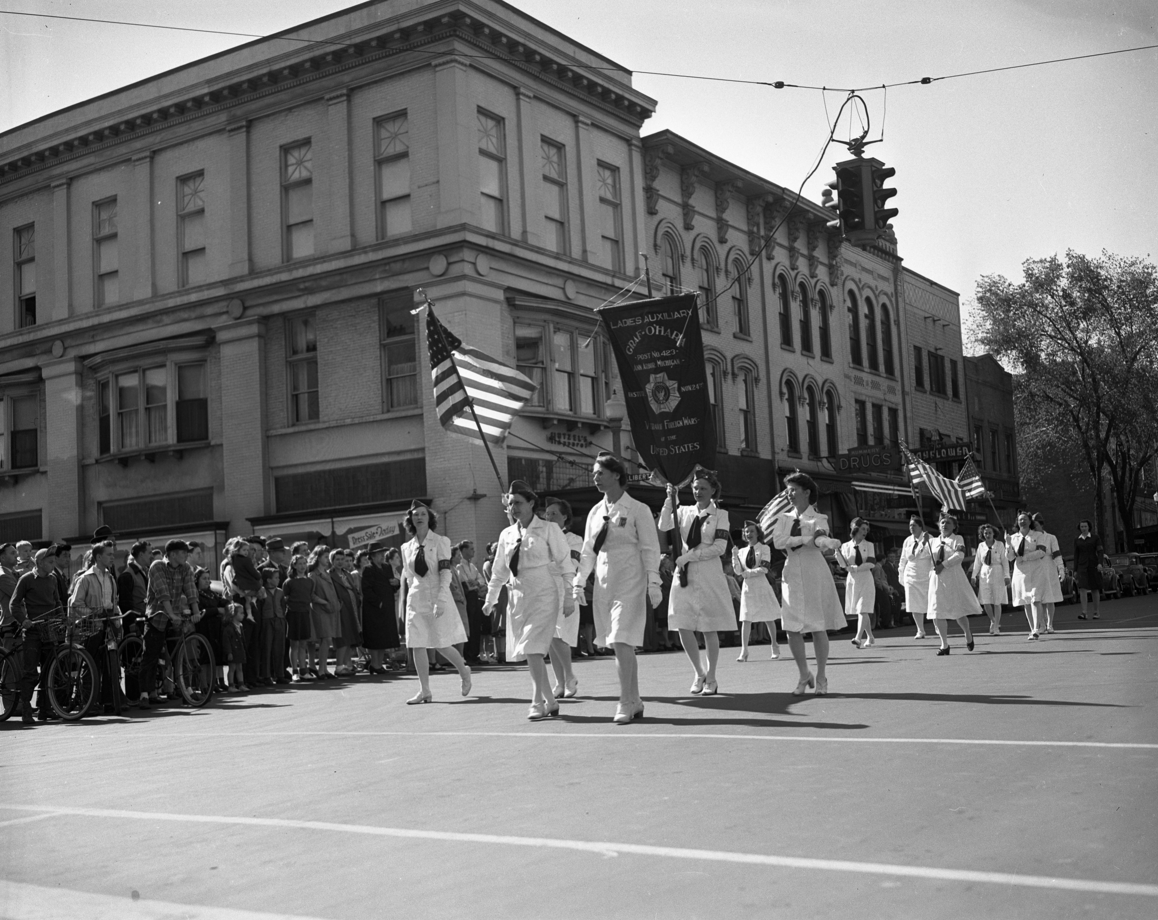 Ladies Auxiliary of the Graf-O'Hara VFW Post 423 March In Memorial Day Parade, May 1945 image