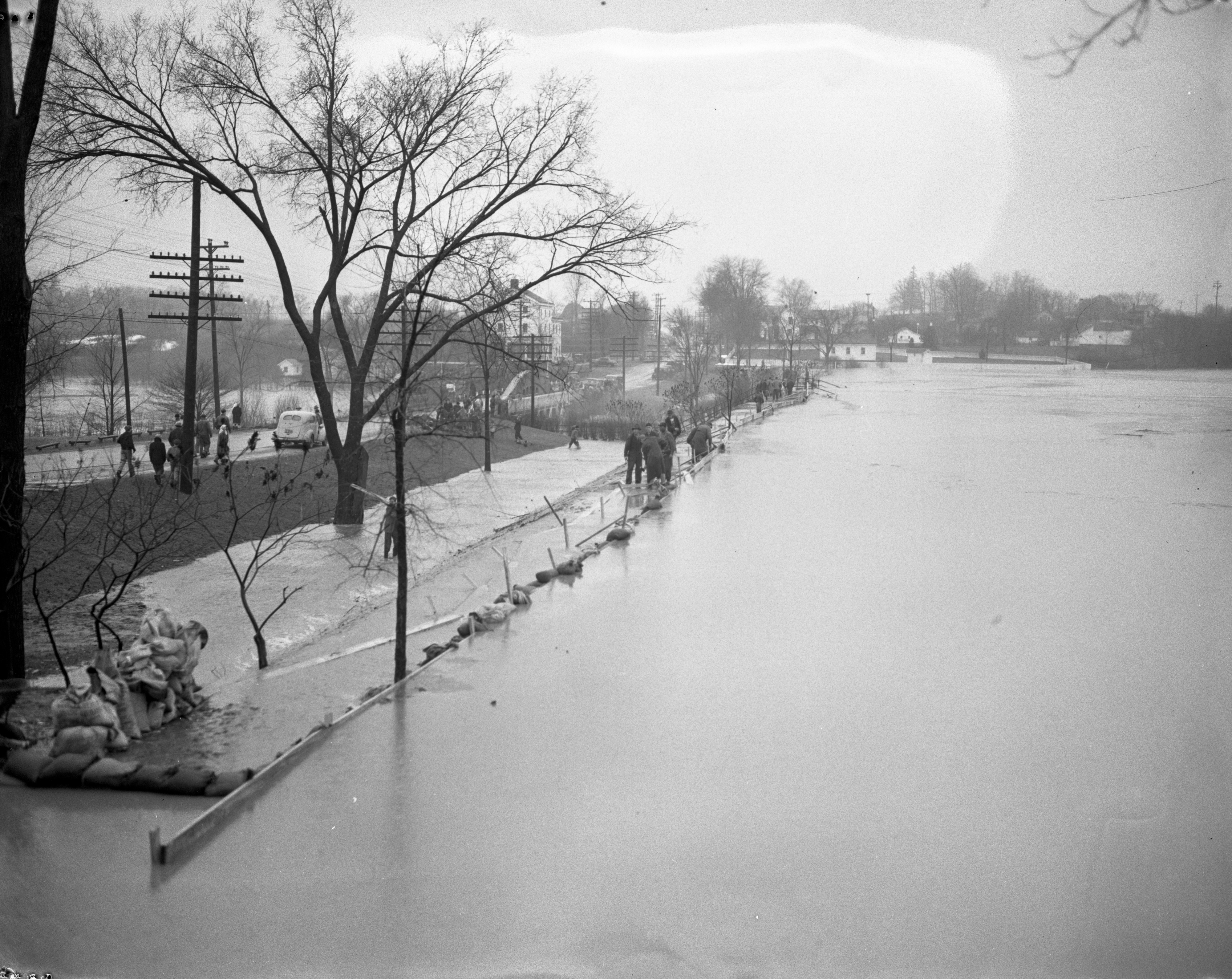 Volunteers Fight Flood at Saline Dam, April 1947 image