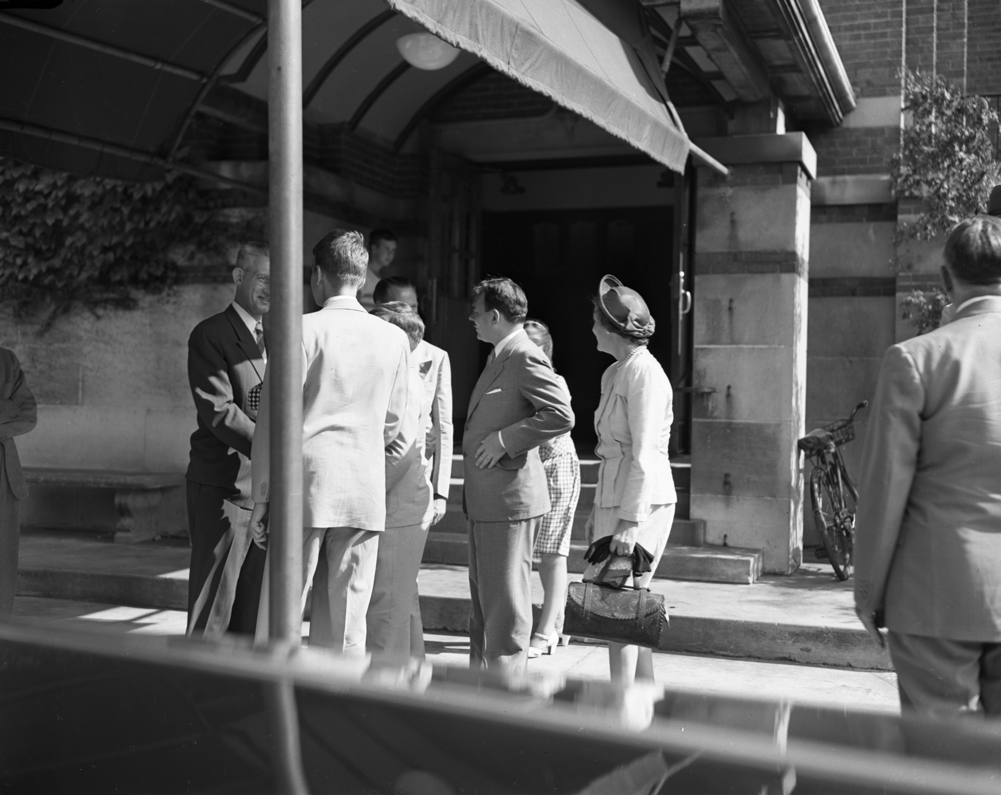 Gov. Thomas E. Dewey and Family Greeted at Michigan Union, July 1947 image