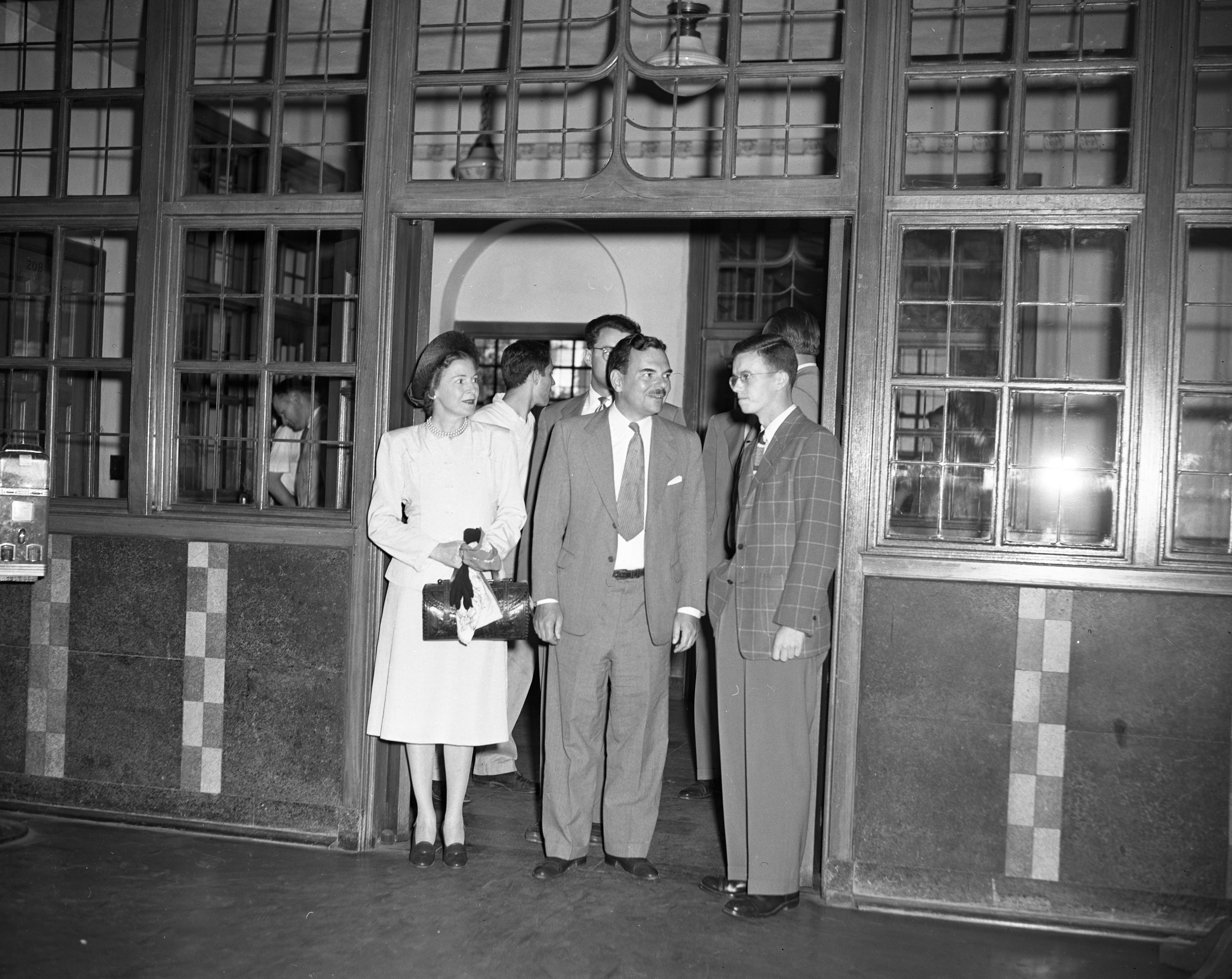 Gov. Thomas E. Dewey and Frances Hutt Dewey Meet Students at the Union During University of Michigan Campus Tour, July 1947 image