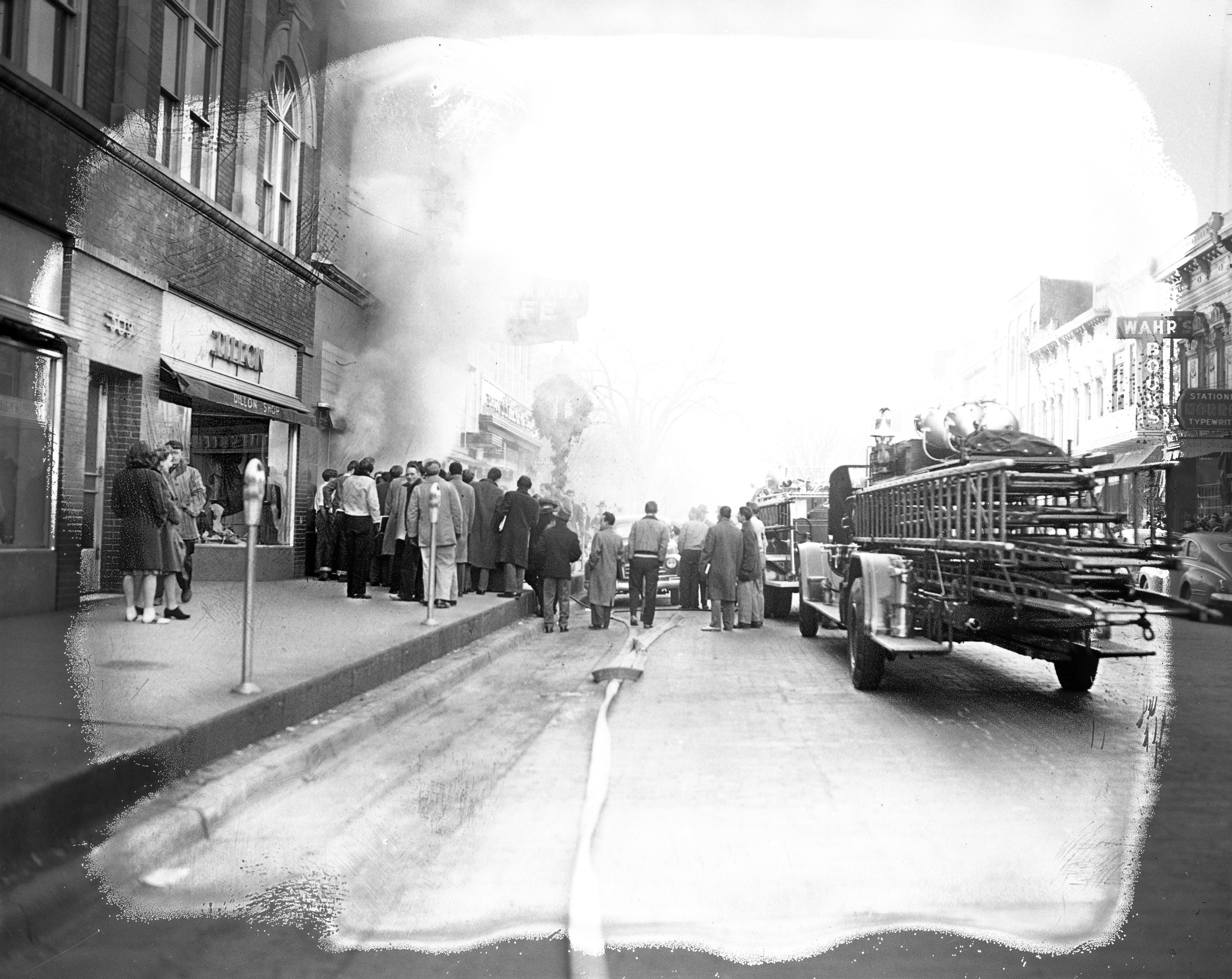 Ann Arbor Fire Trucks Line Up On State St To Battle Wild & Co. Fire, December 1947 image