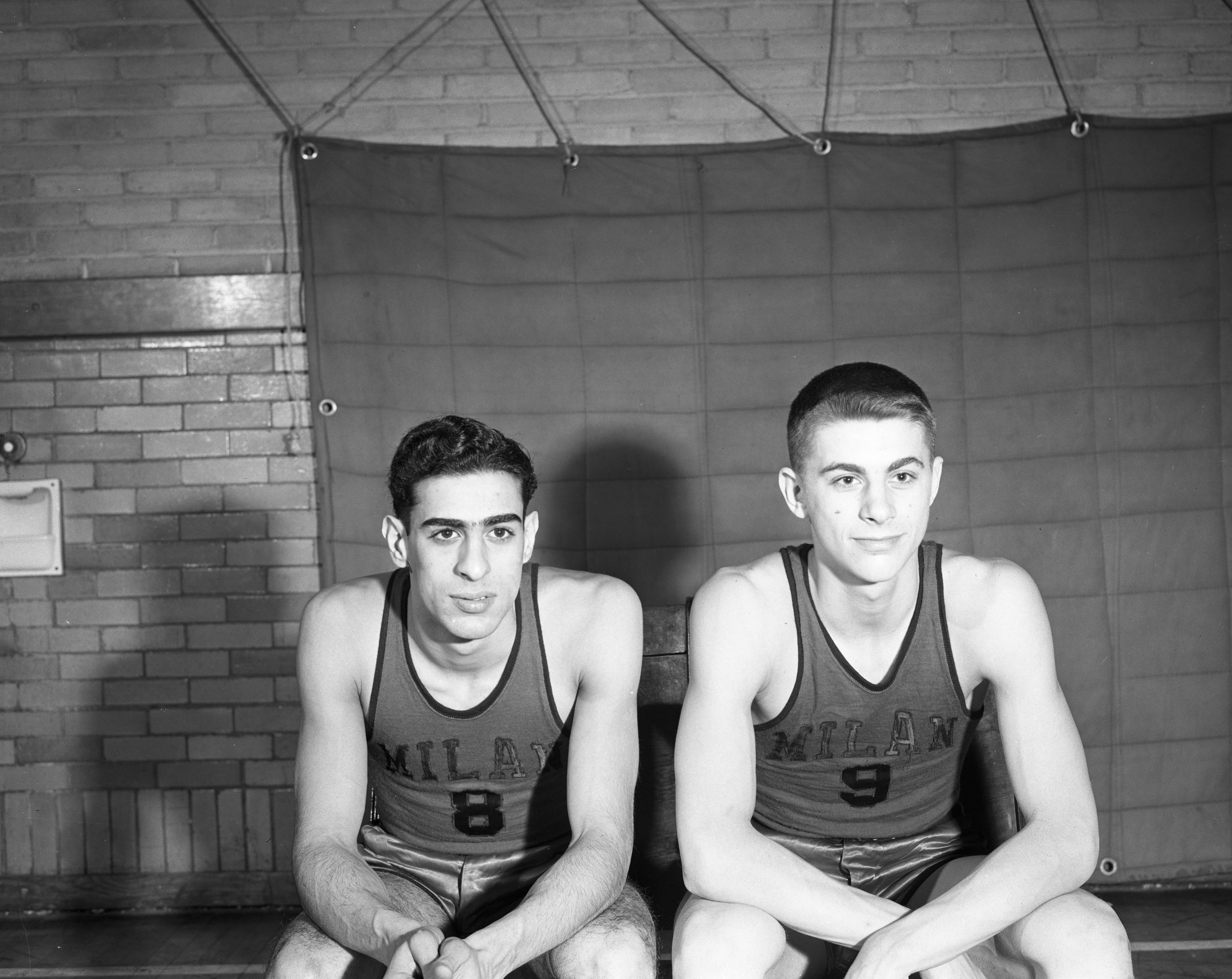 Milan High School Basketball Players, March 1948 image