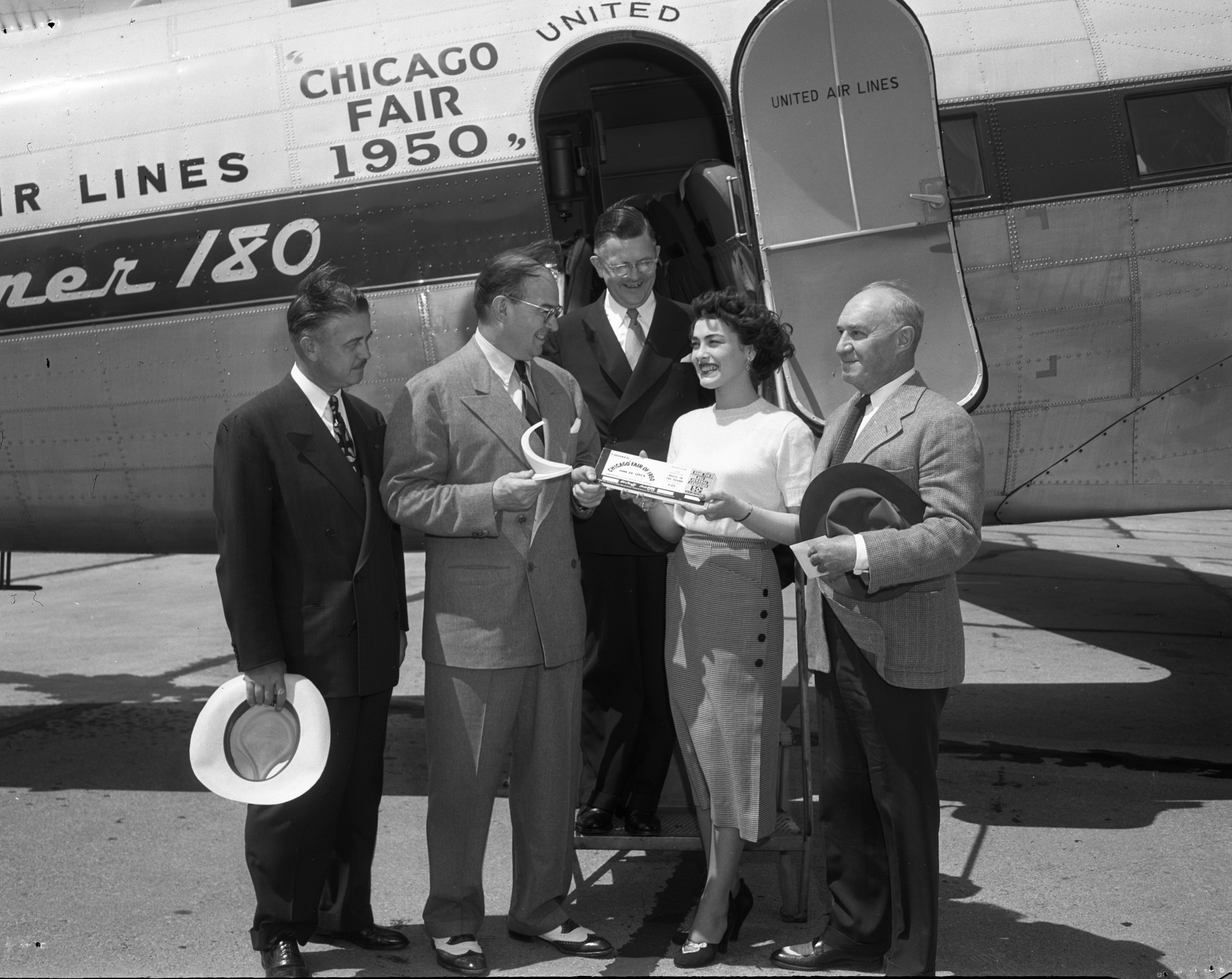 Mayor Brown Receives Tickets to Chicago World's Fair From Miss Chicago, June 1950 image