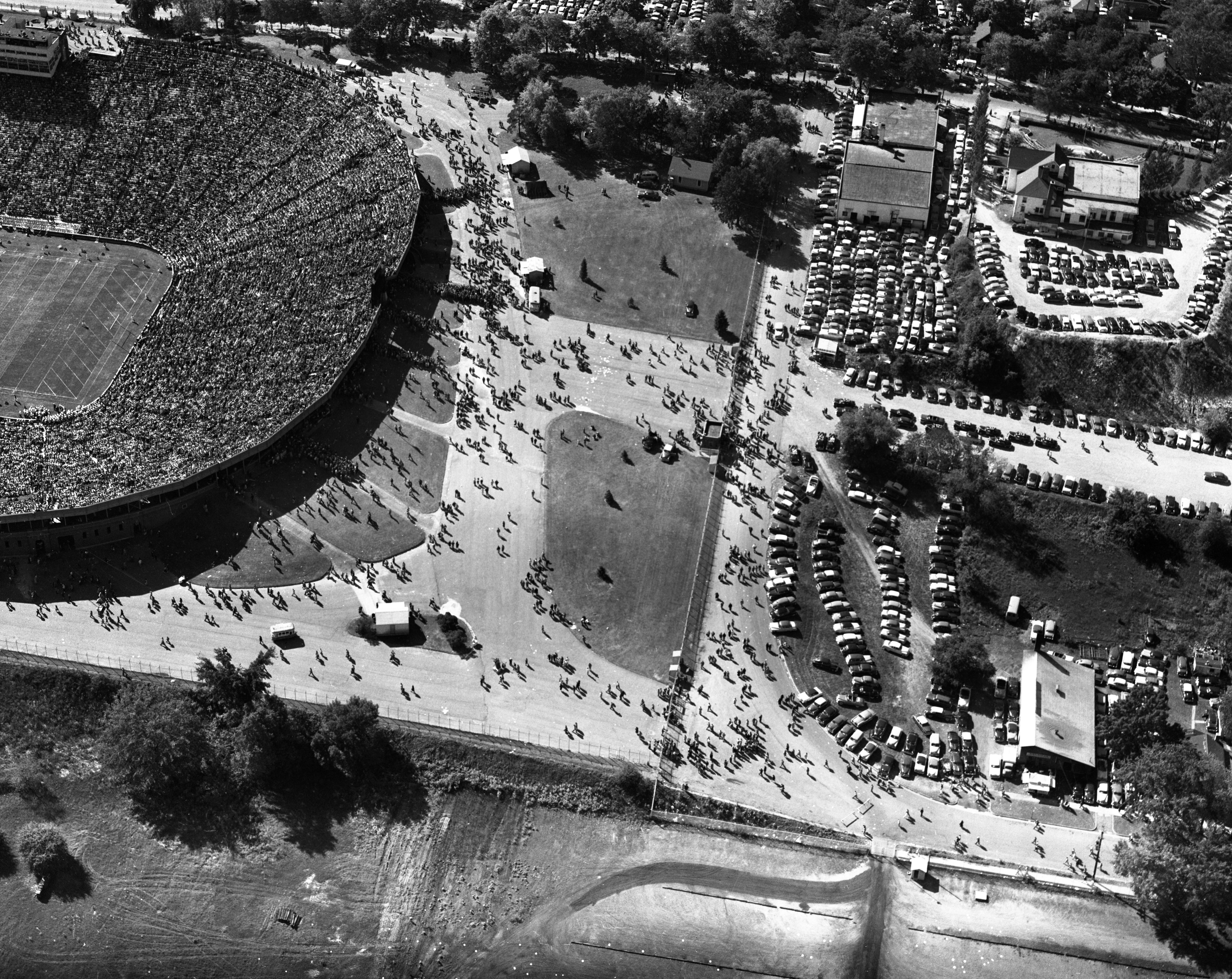 Aerial photo of University of Michigan vs. Michigan State football game, September 27, 1952 image