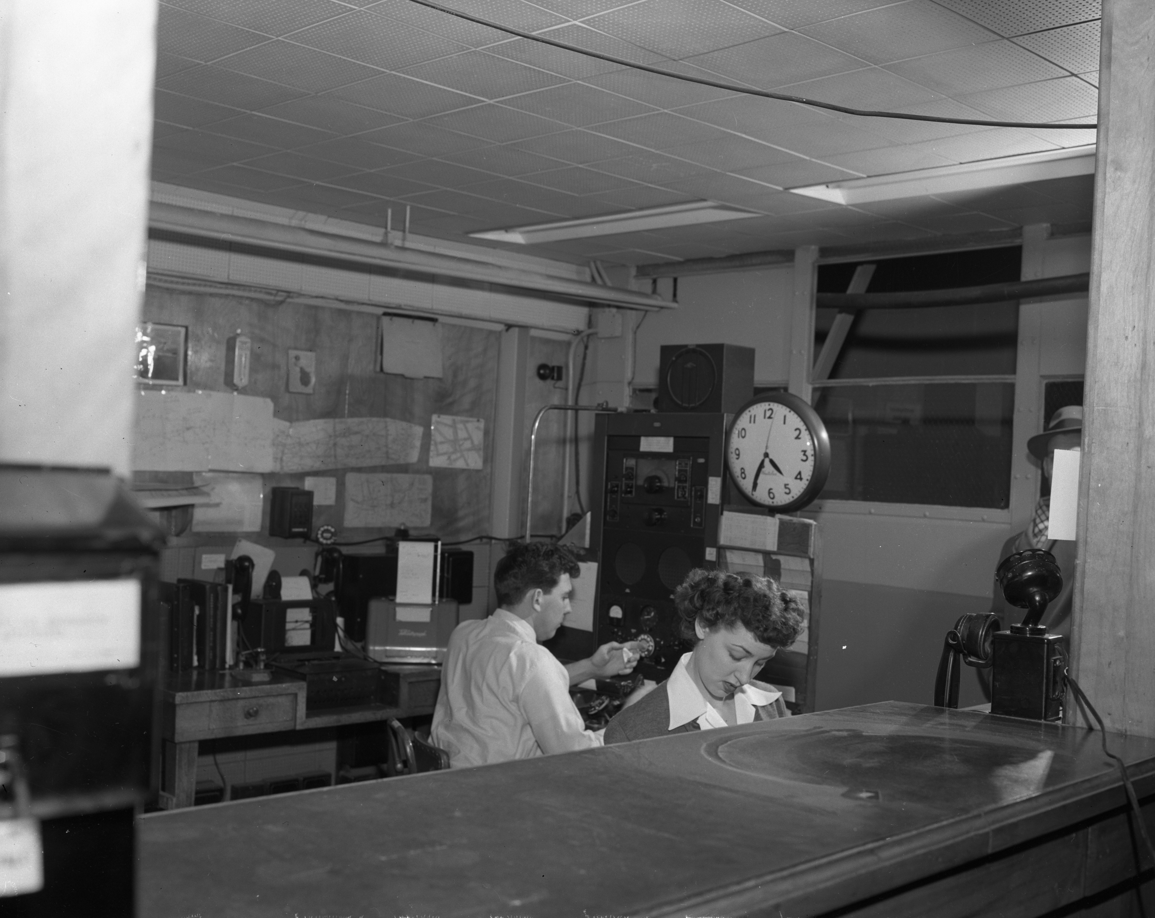 Northwest Airlines Operations Office at Willow Run Airport, February 1954 image