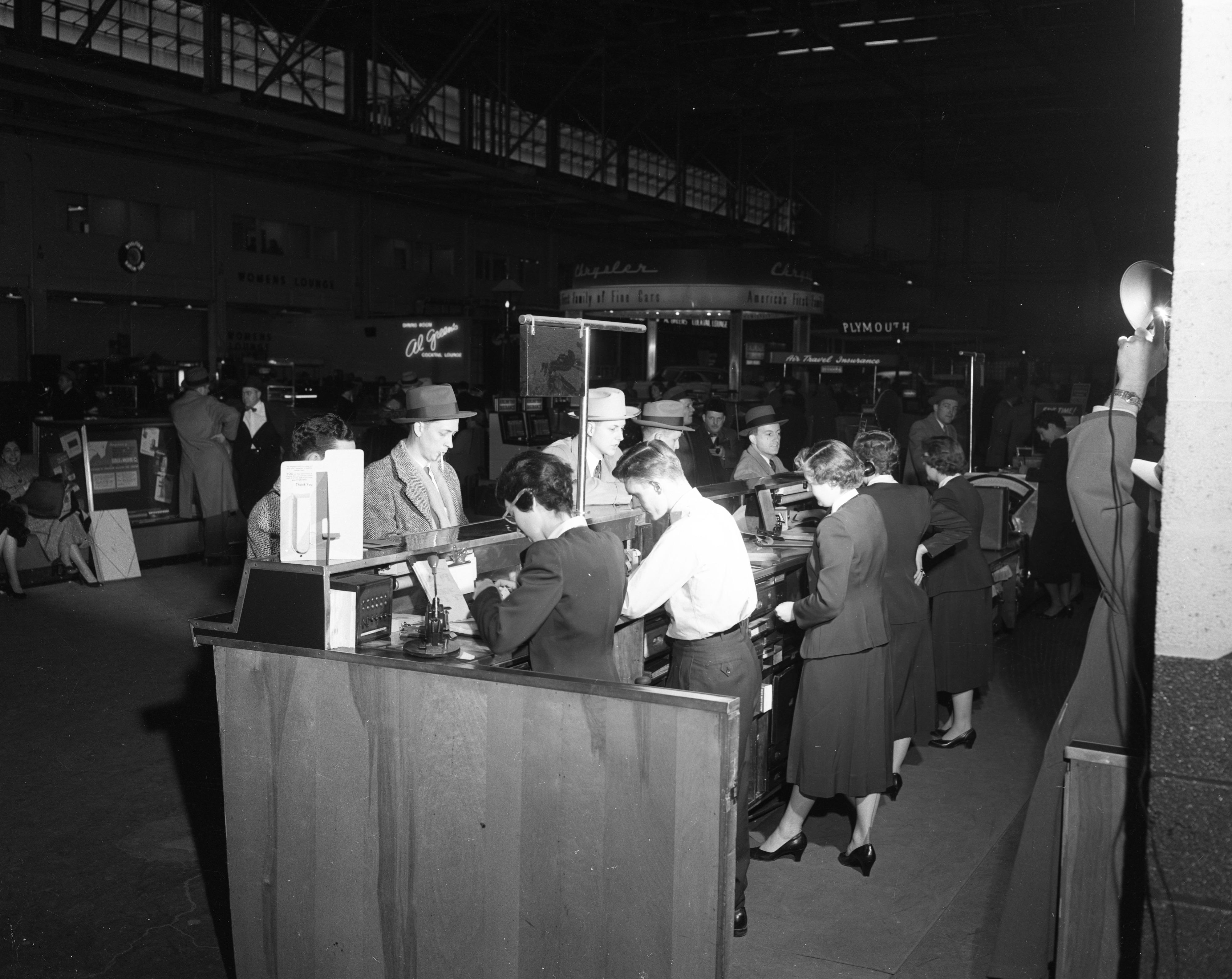 American Airlines Ticket Sales Counter at Willow Run Airport, February 1954 image