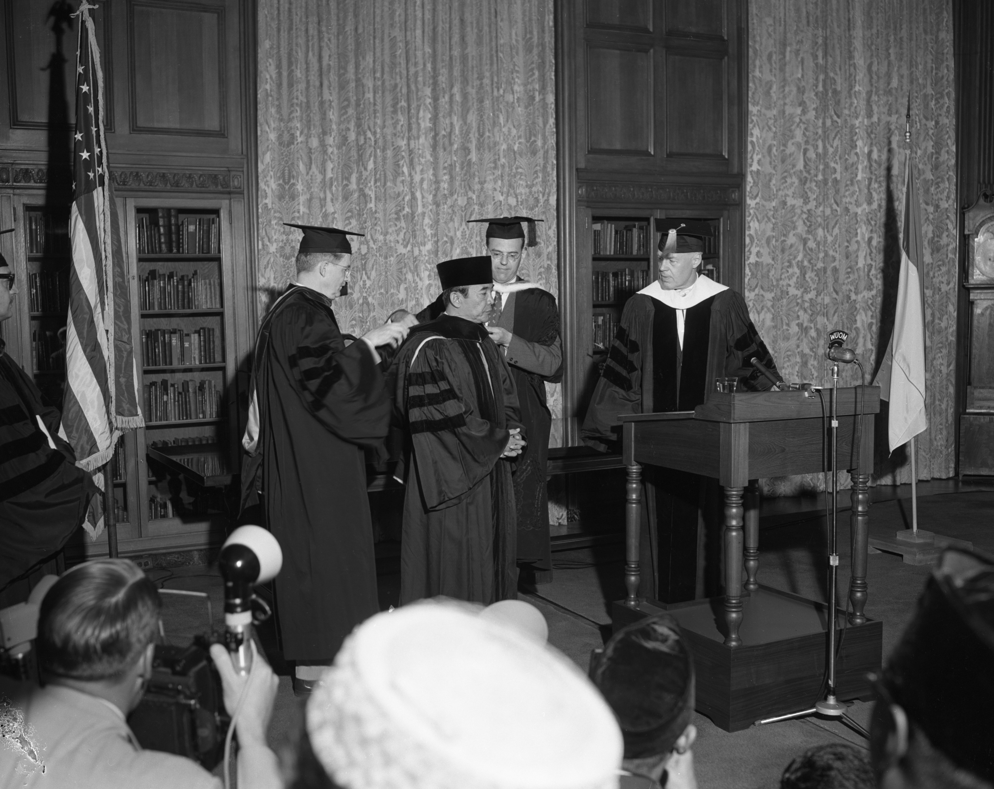President of Indonesia, Dr. Sukarno, receives University of Michigan degree, May 1956 image