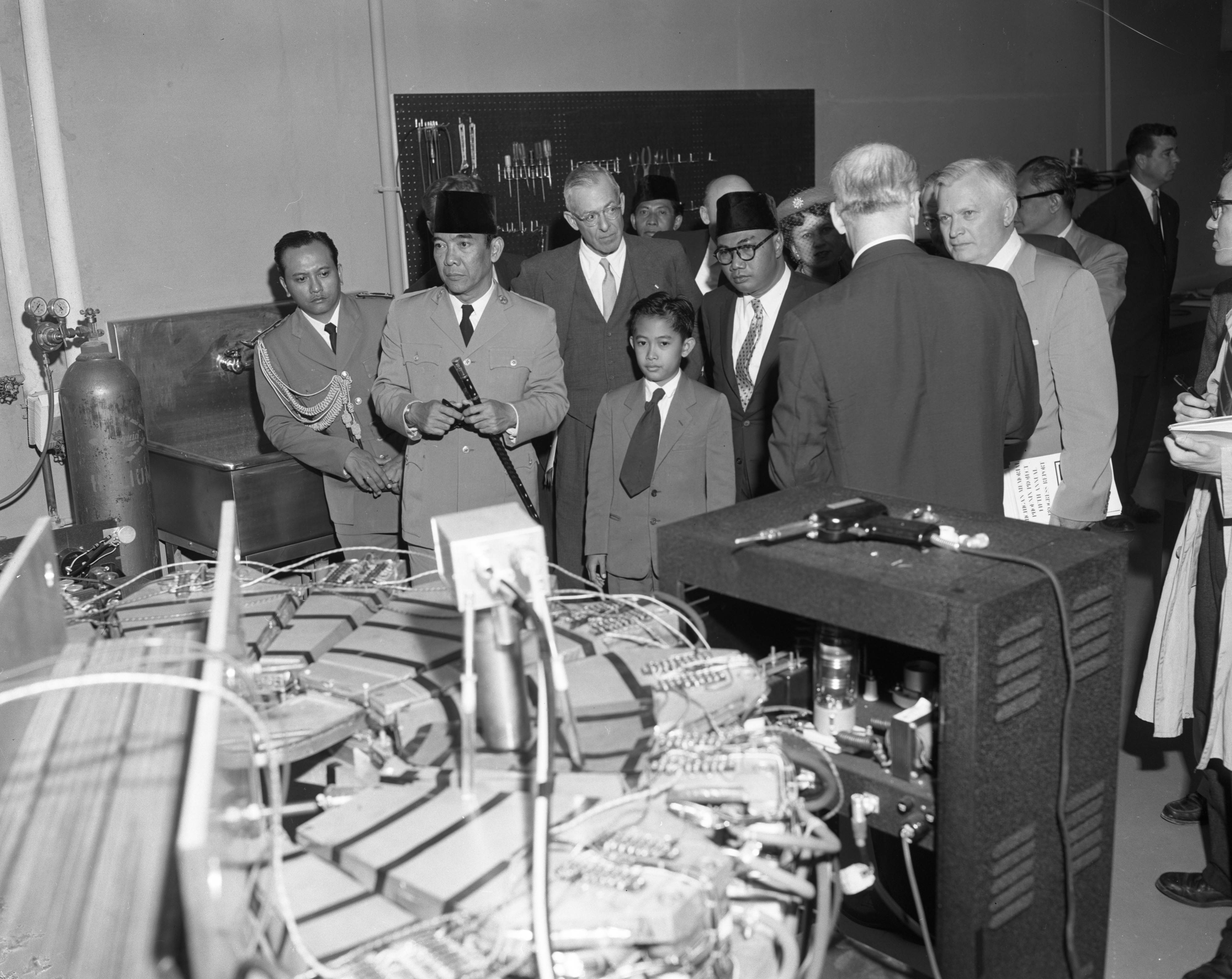 Dr. Sukarno, president of Indonesia, and his son Mohammed Guntur, visit the University of Michigan, May 1956 image