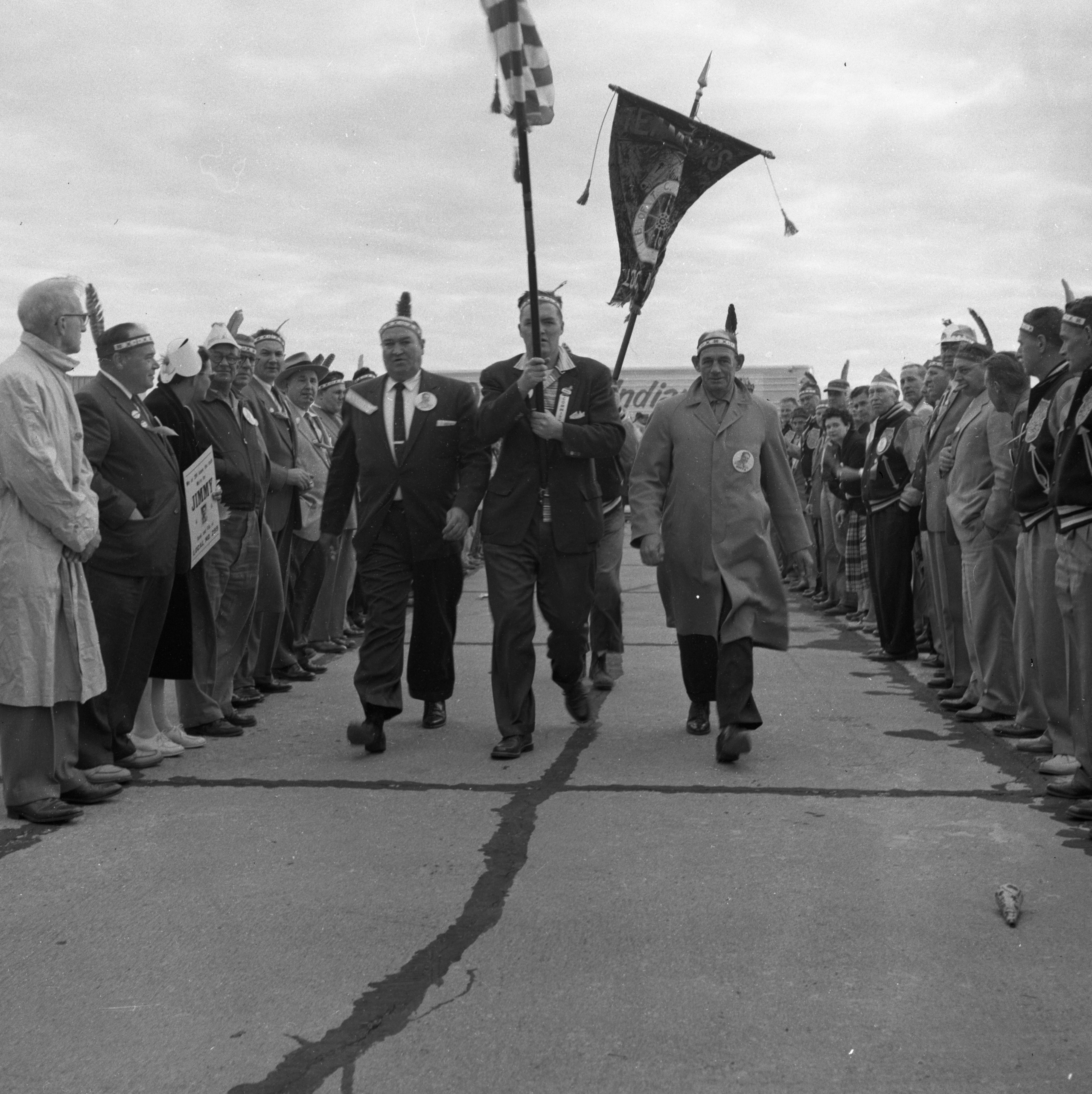 Honor Guard Greets Newly Elected National Teamsters Union President Jimmy Hoffa at Willow Run Airport, October 1957 image