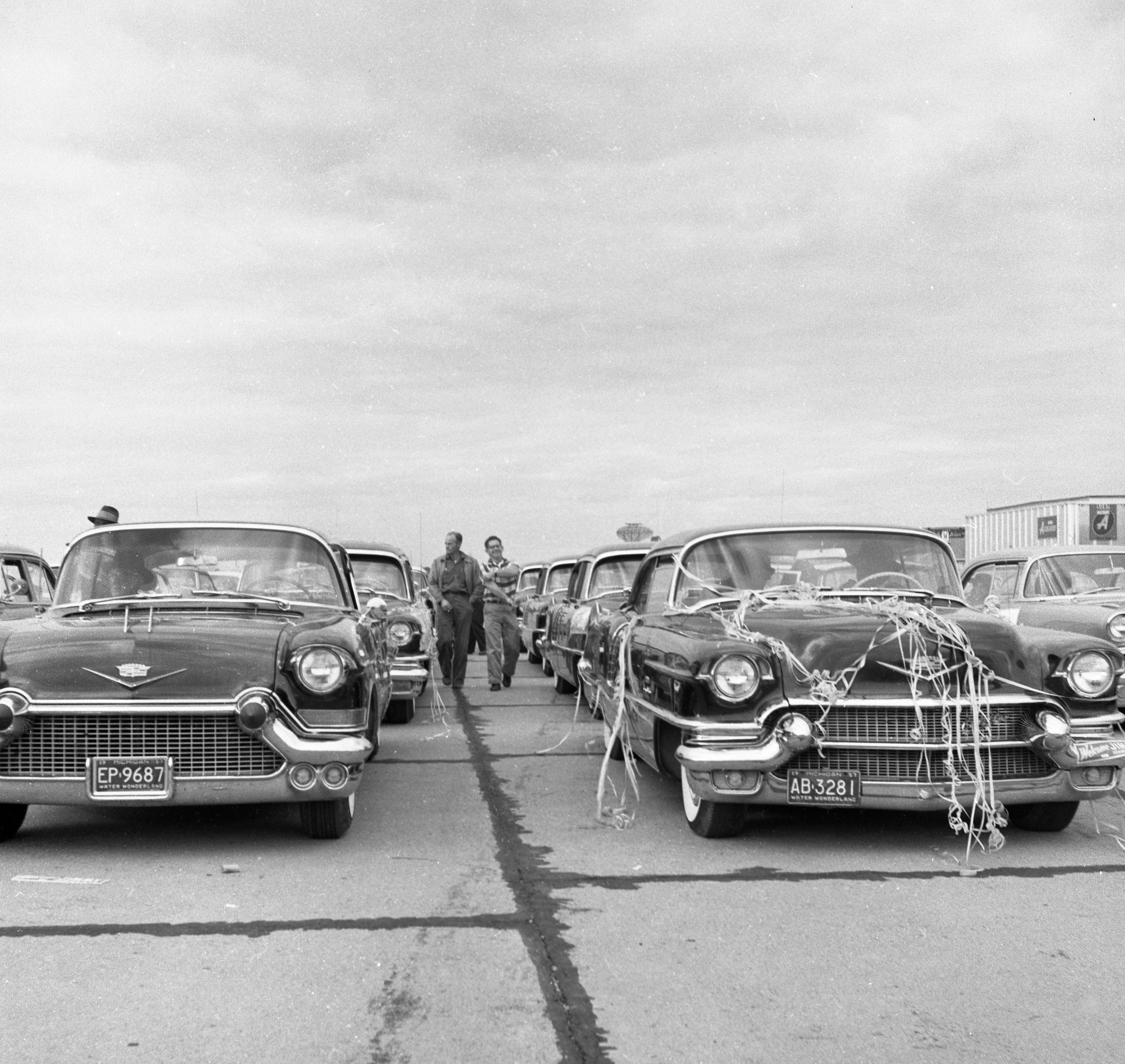 Cars Fill Willow Run Airport Parking Lot at Event For Newly Elected National Teamsters Union President Jimmy Hoffa, October 1957 image