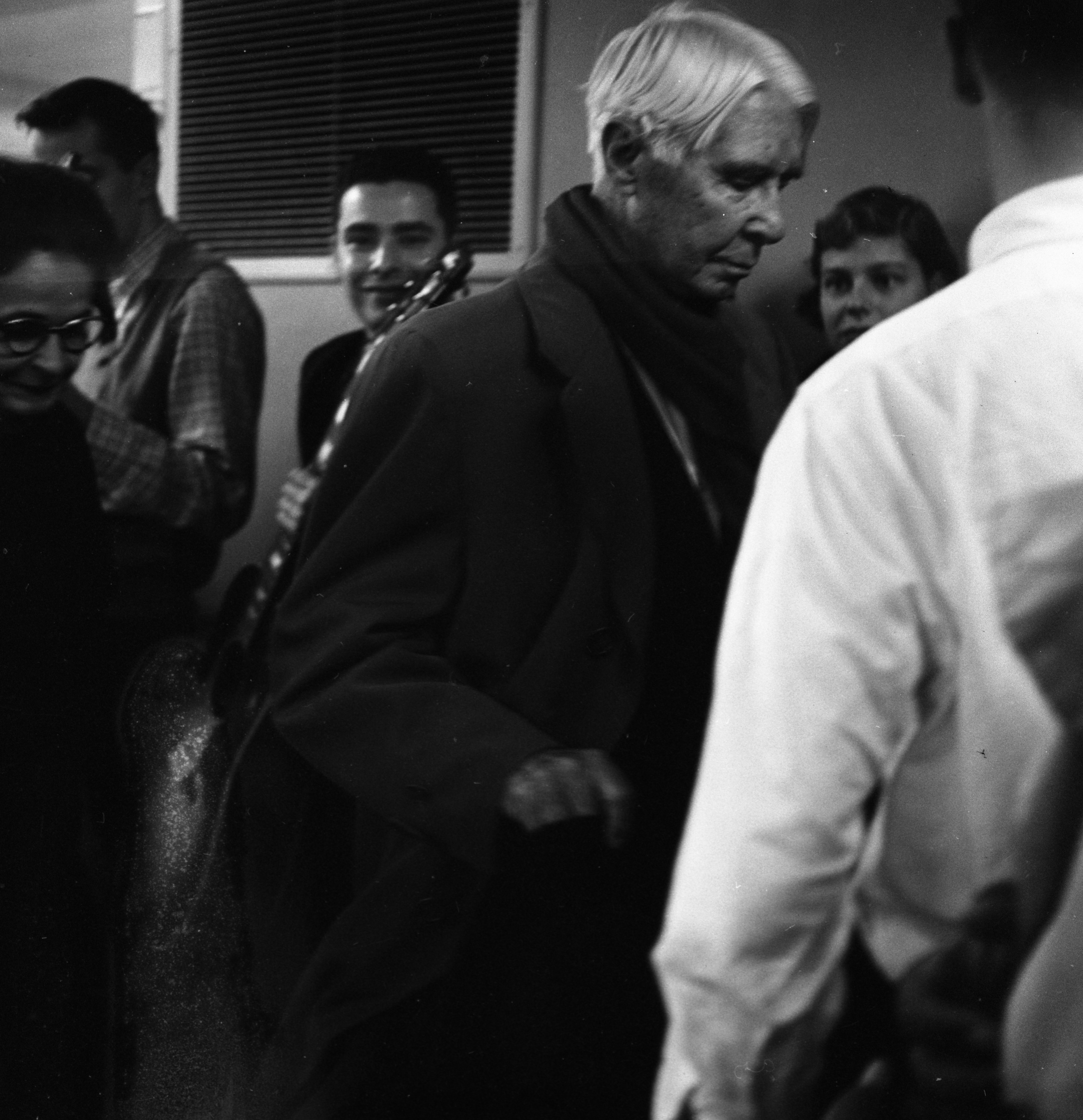 Carl Sandburg visits with the Folk Song Society at the Michigan Union, November 1957 image