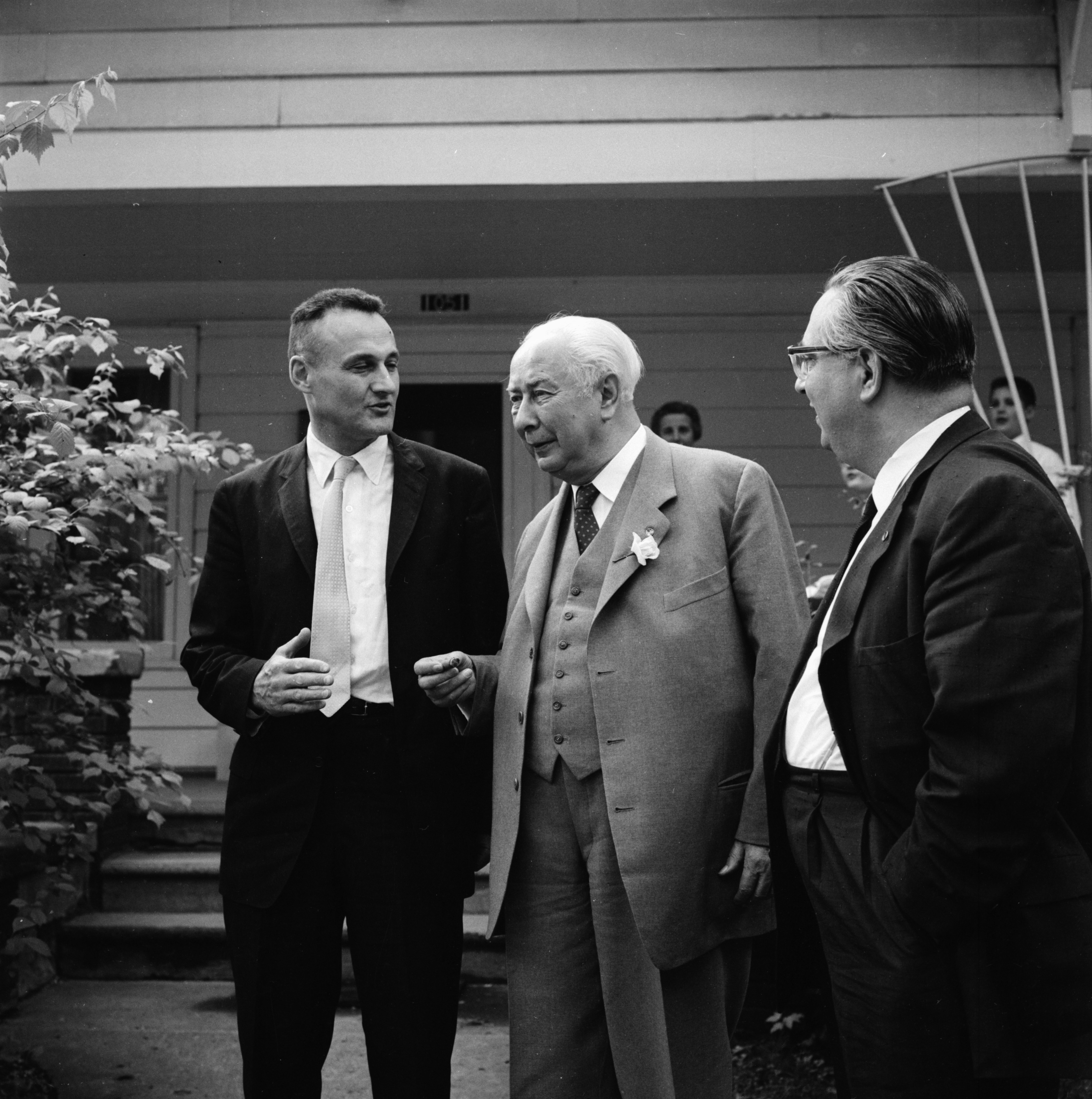 Theodor Huess, president of the West German Republic, visits with Prof. Wolfgang F. Stolper, June 1958 image