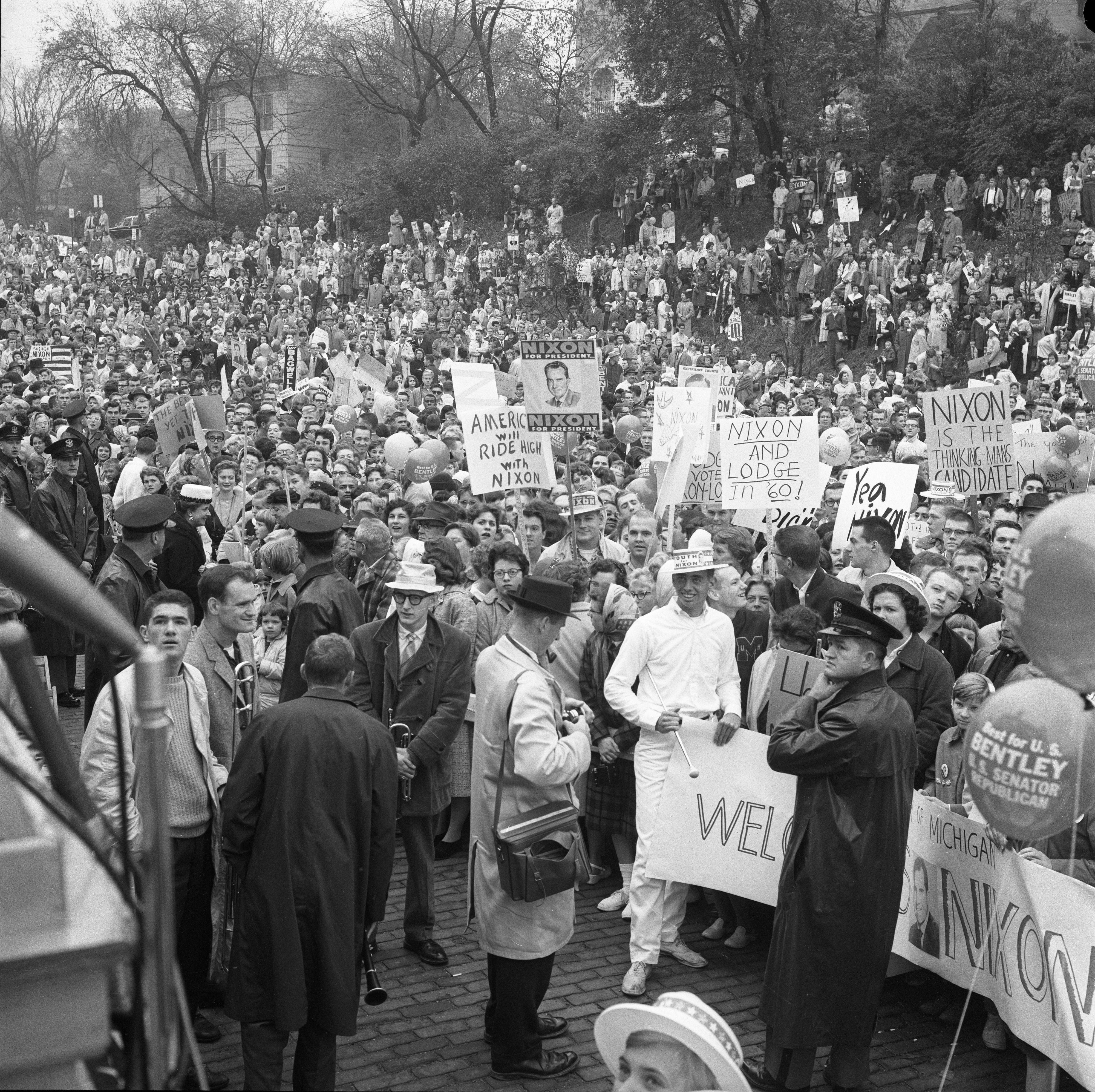 Crowd during visit by presidential candidate Richard Nixon, October 1960 image