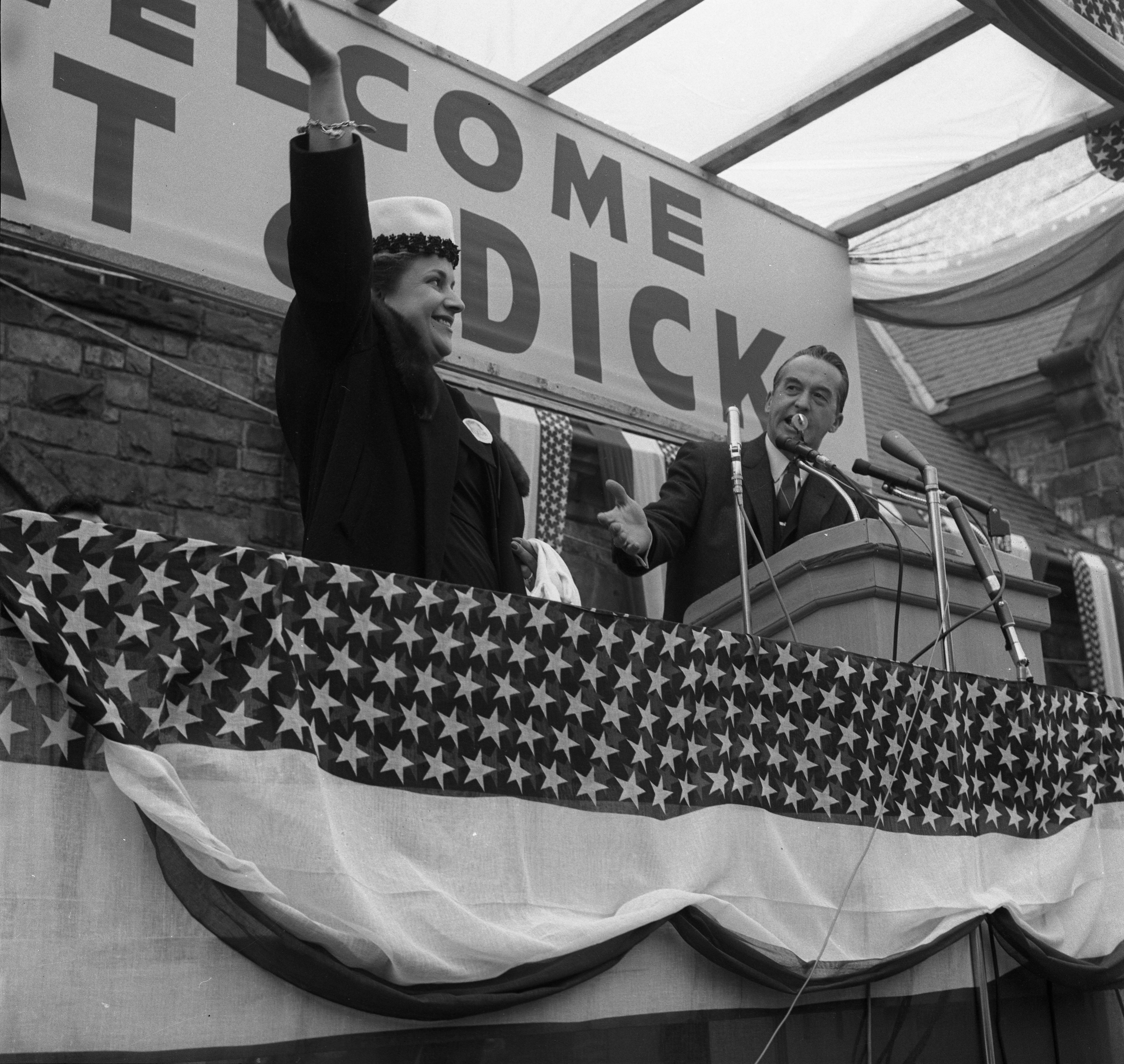 Paul Bagwell, Candidate for Michigan Governor With Billie Bentley, At Nixon Rally, October 1960 image