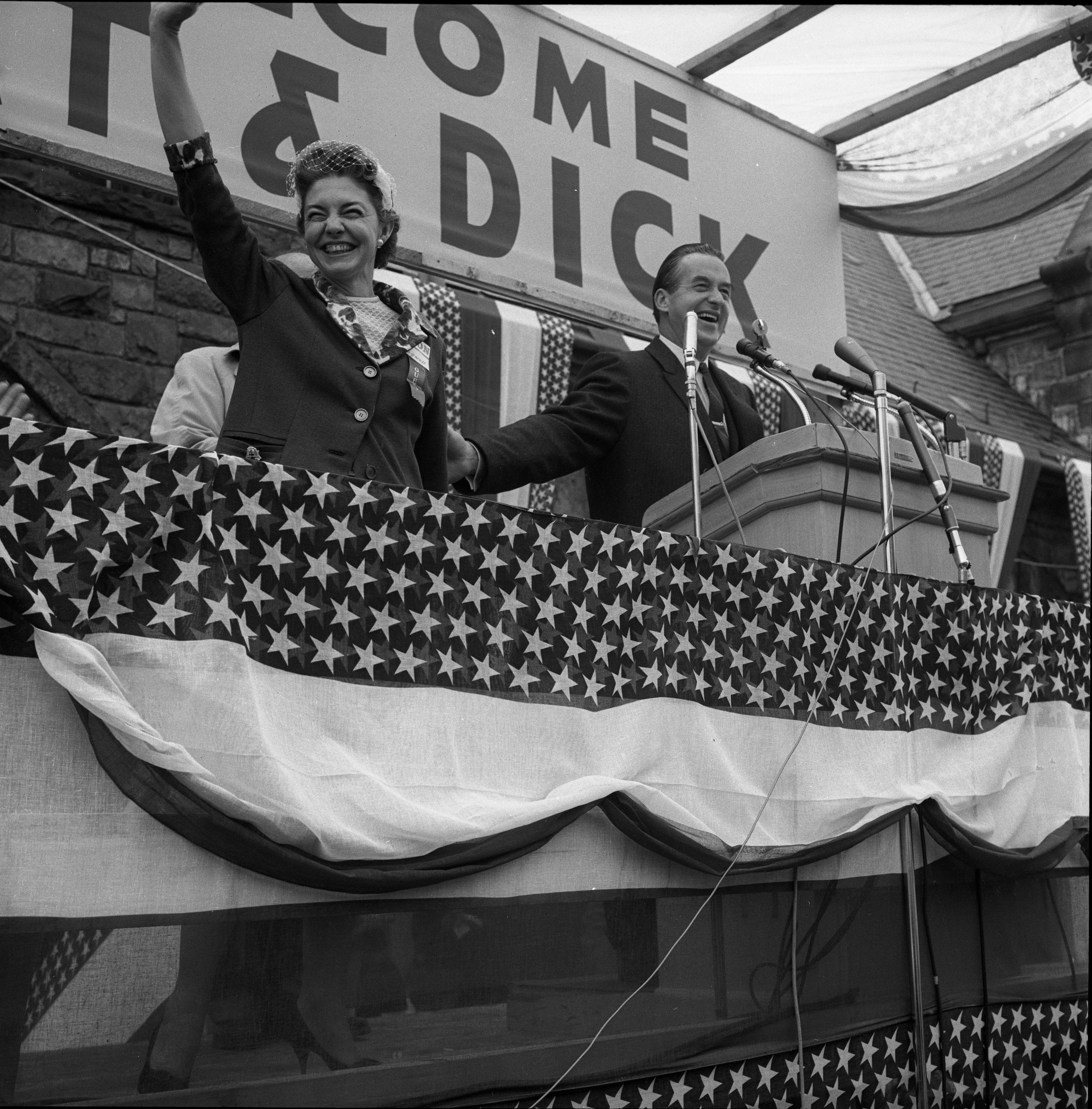 Mr. and Mrs. Paul Bagwell At Podium For Richard Nixon's Rally, October 1960 image