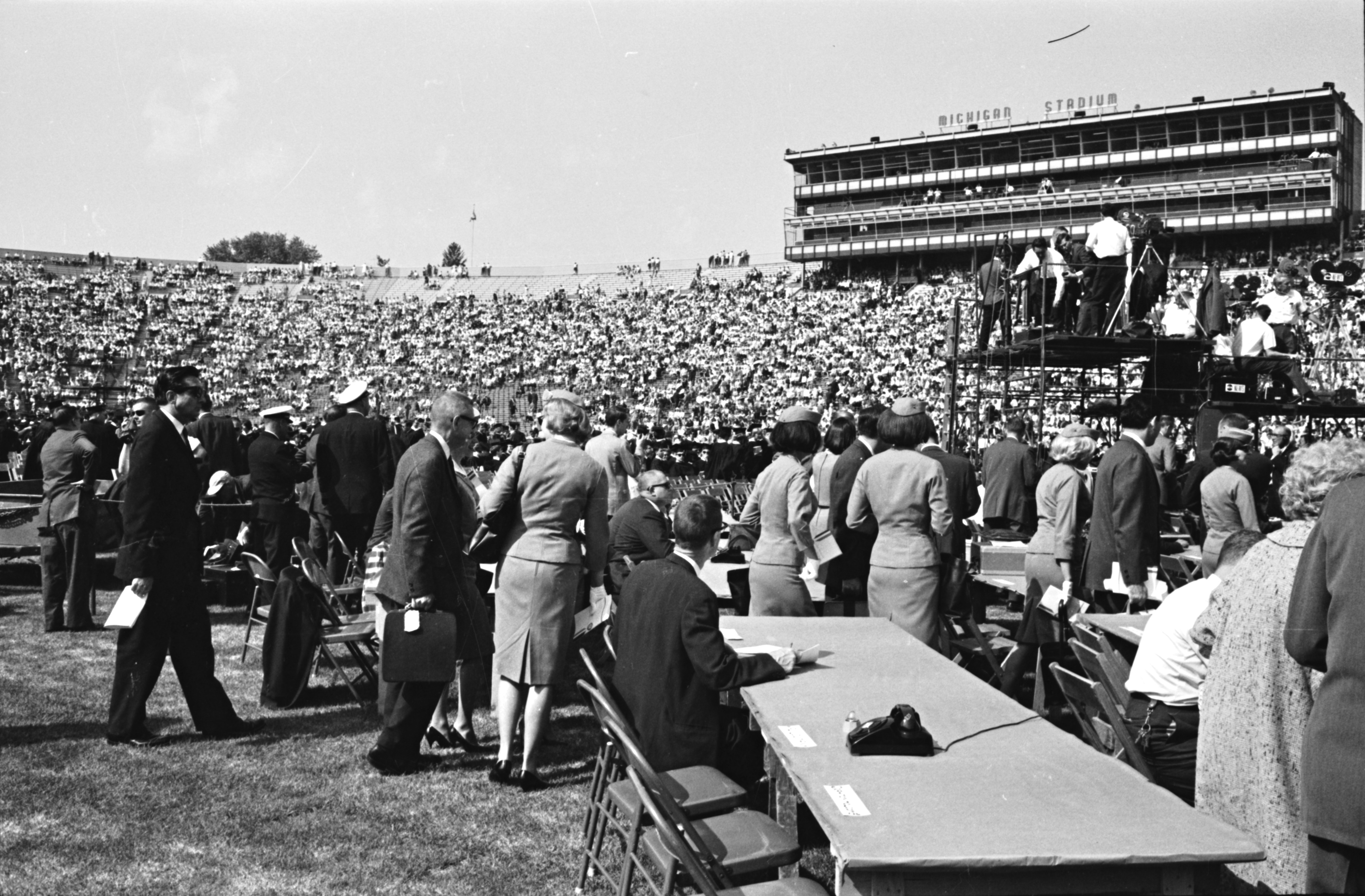 "On the sidelines, U-M Commencement, May 22, 1964 (LBJ's ""Great Society"" Speech) image"