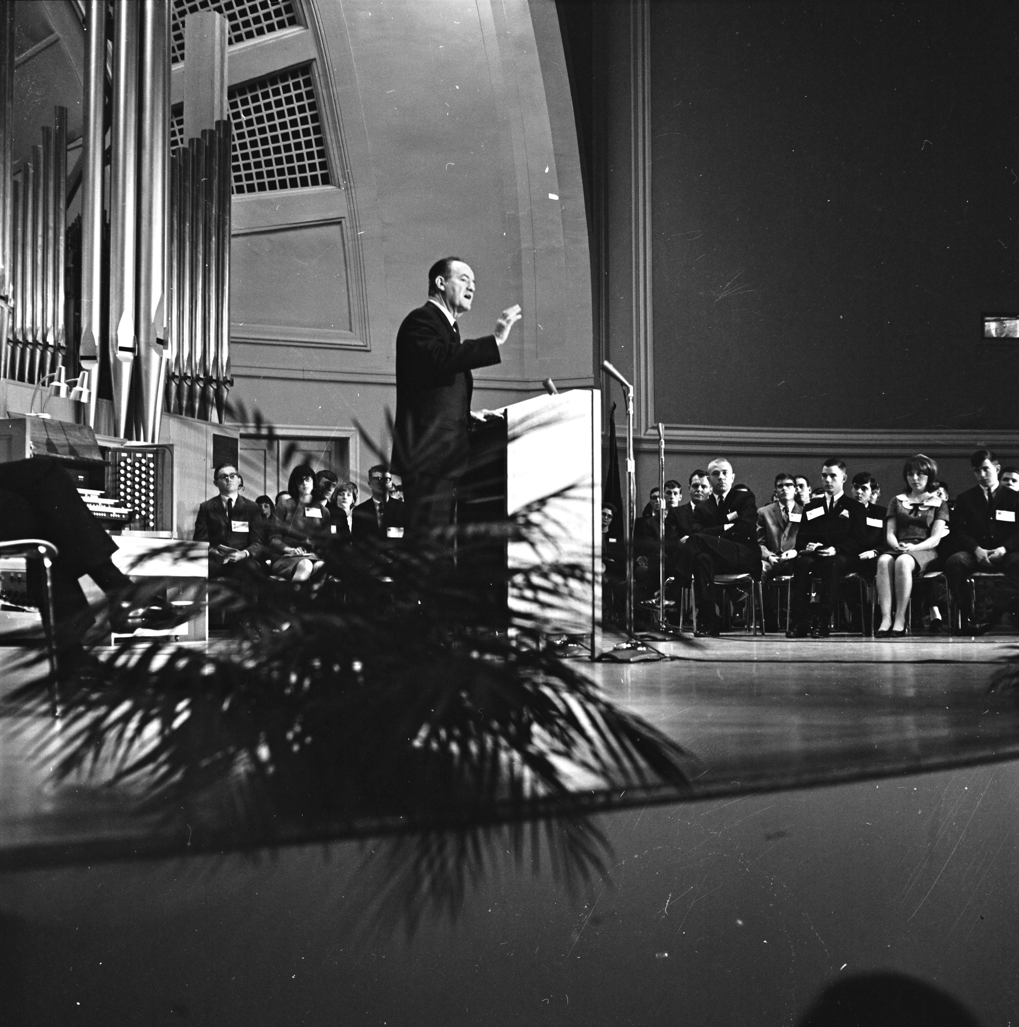Vice President Hubert Humphrey speaks at Pease Auditorium in Ypsilanti, February 1966 image