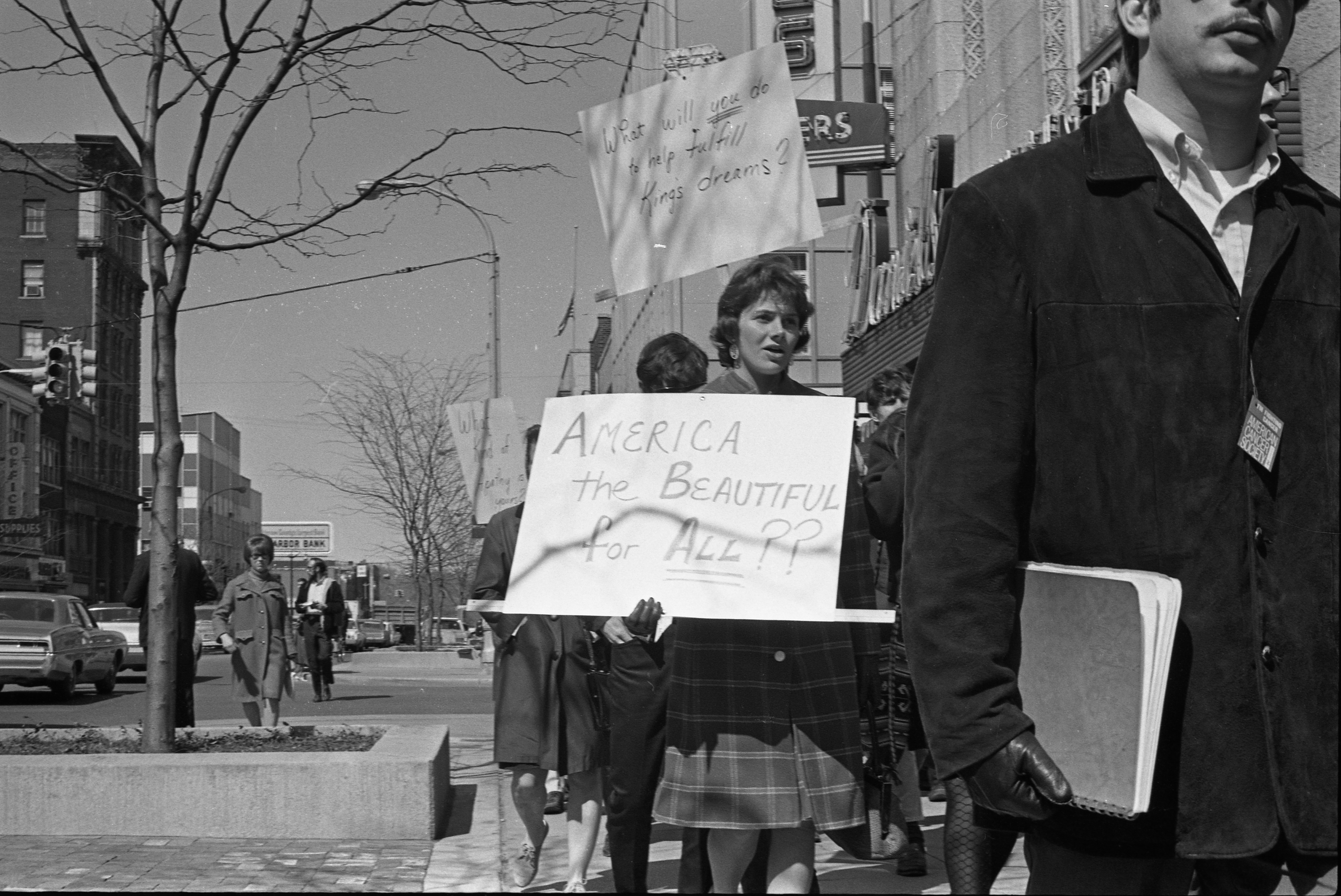 Marching On Main Street With Signs After Martin Luther King Jr Memorial Services, April 1968 image