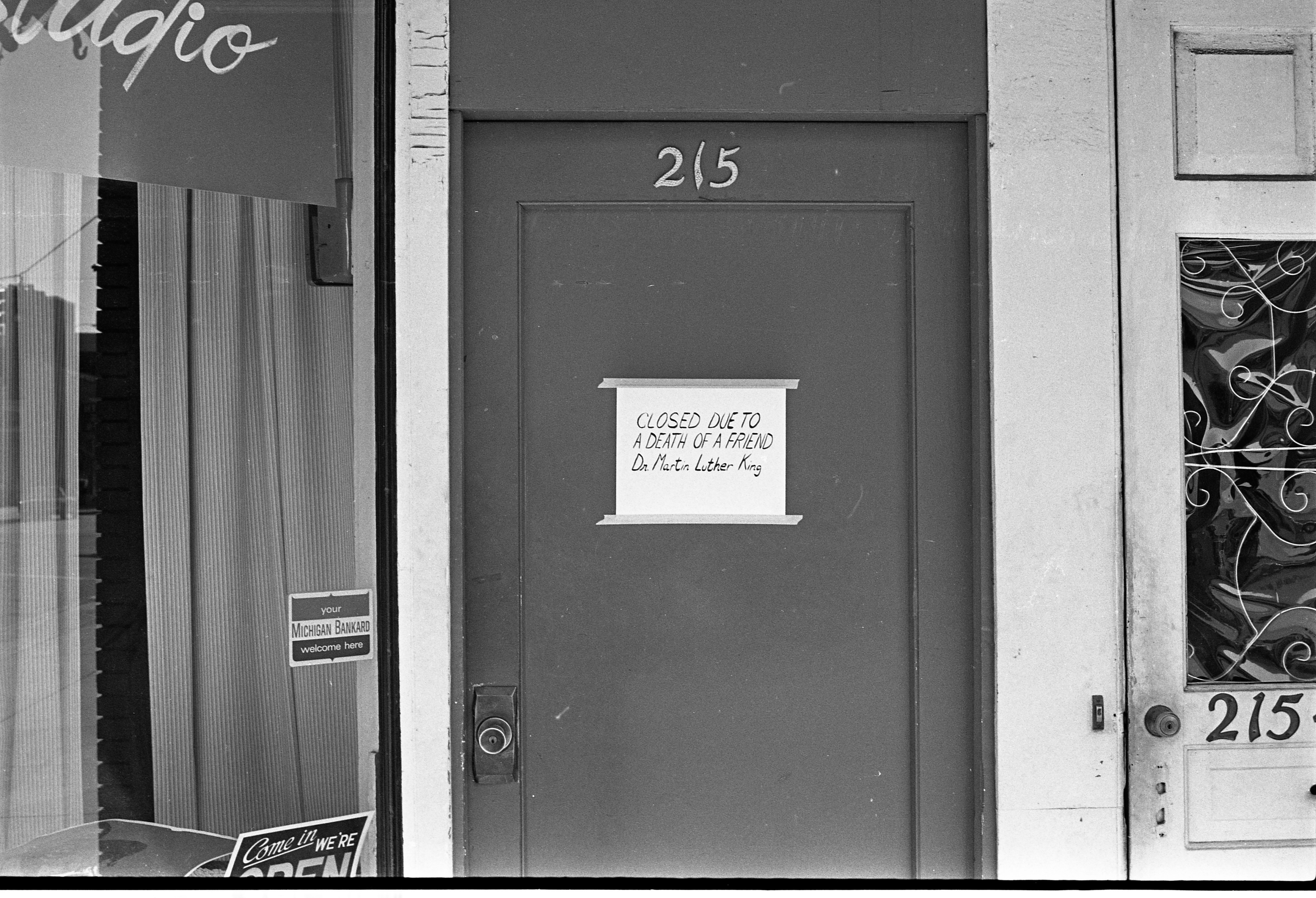 Artist, Jon Lockard's Studio Door With Message About Martin Luther King Jr.'s Death, April 1968 image