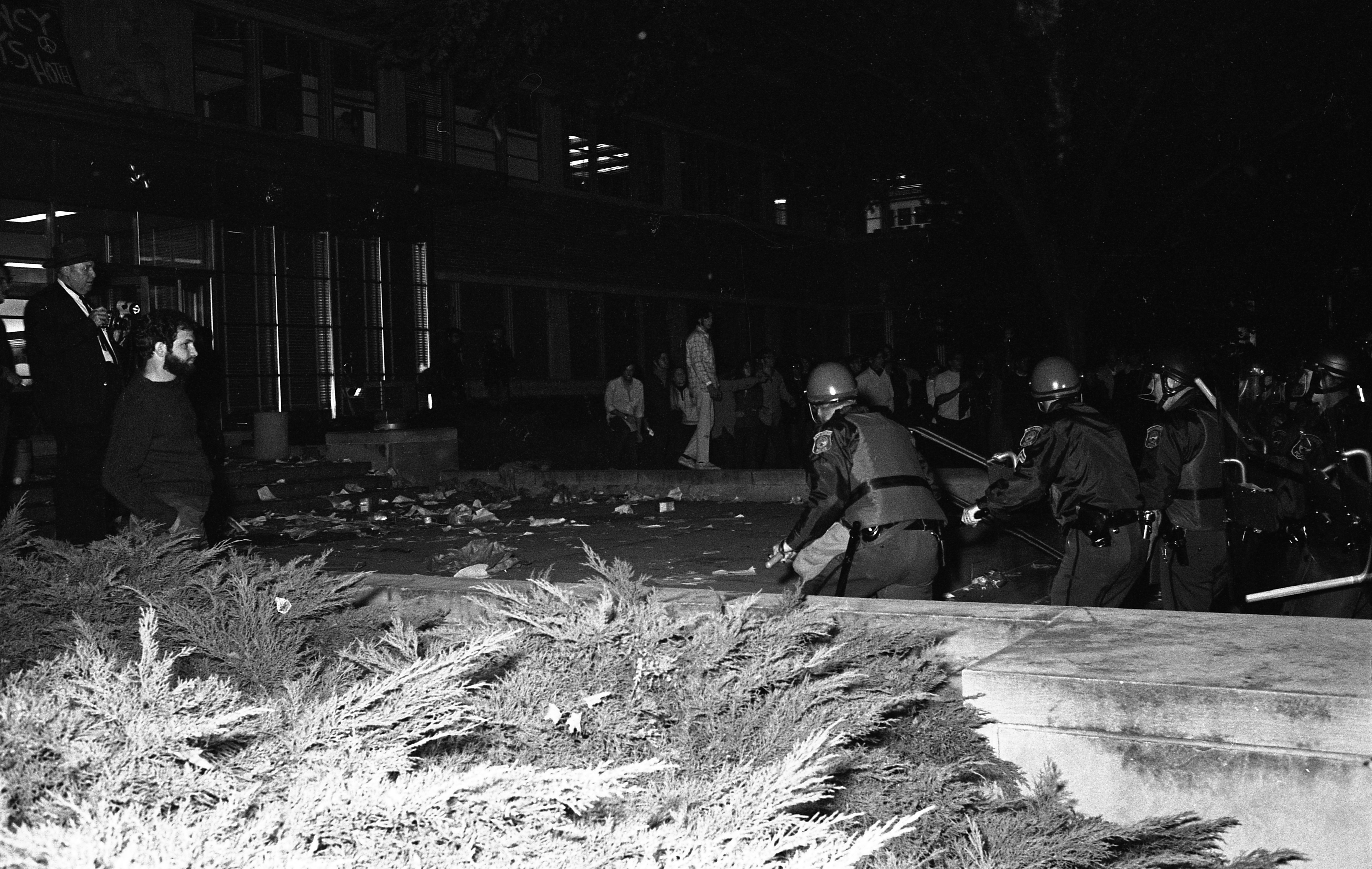 Police Advance On Student Protesters At UM Admin Building, September 25, 1969 image