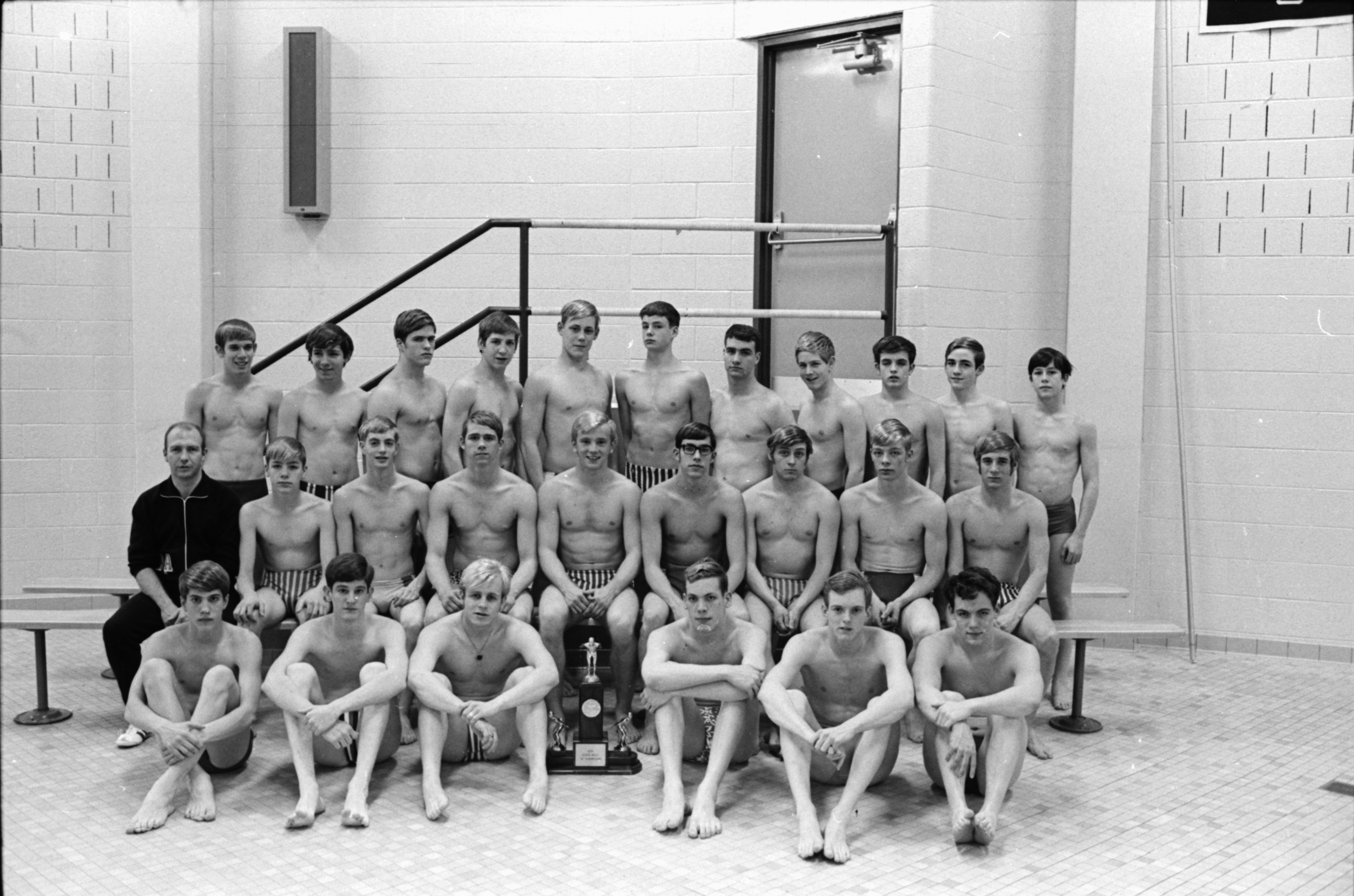 Huron High School Swim Team State Champions, March 1970 image