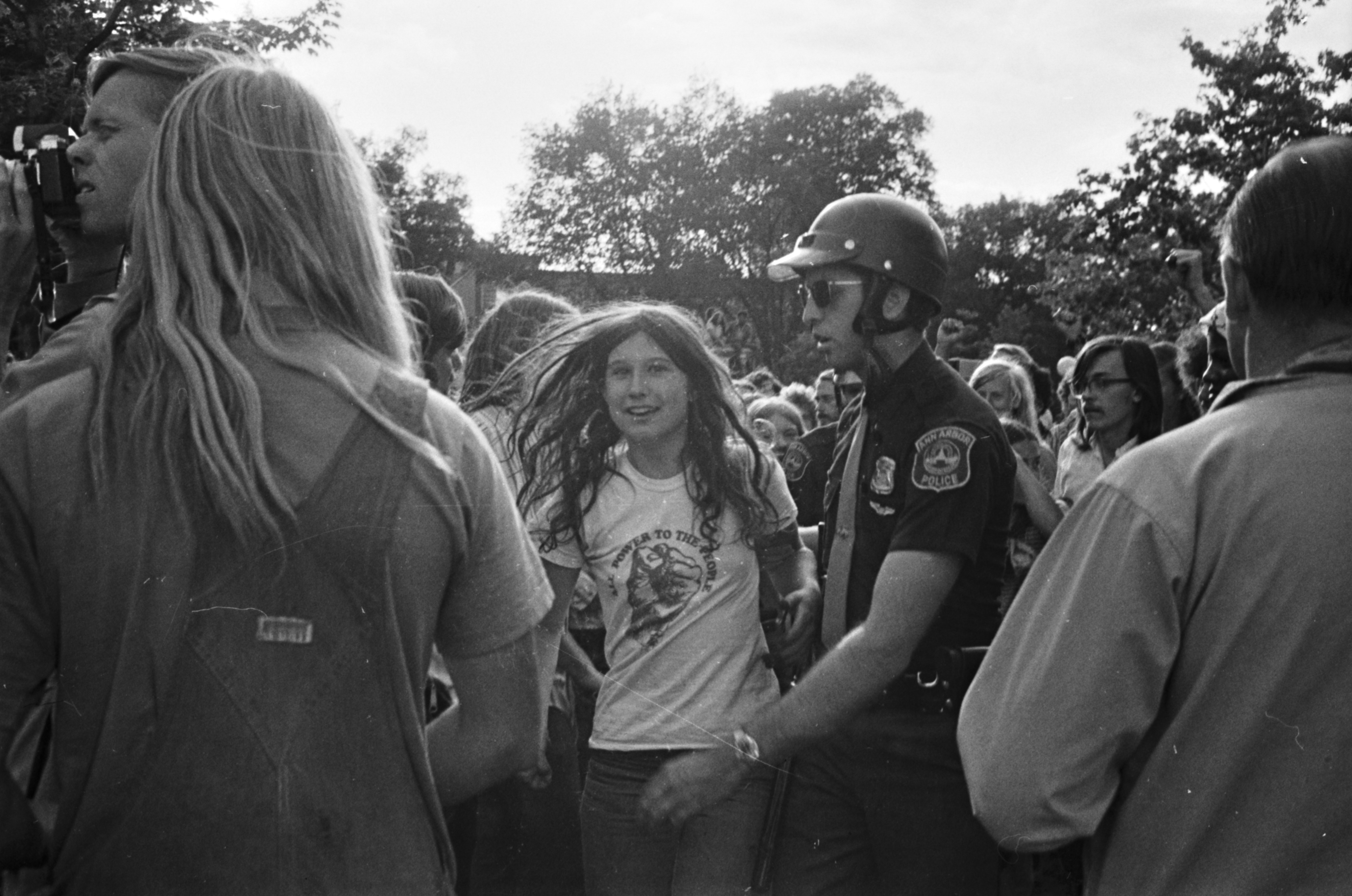 Vietnam War Protester and Police on U-M Campus Diag, June 1972 image