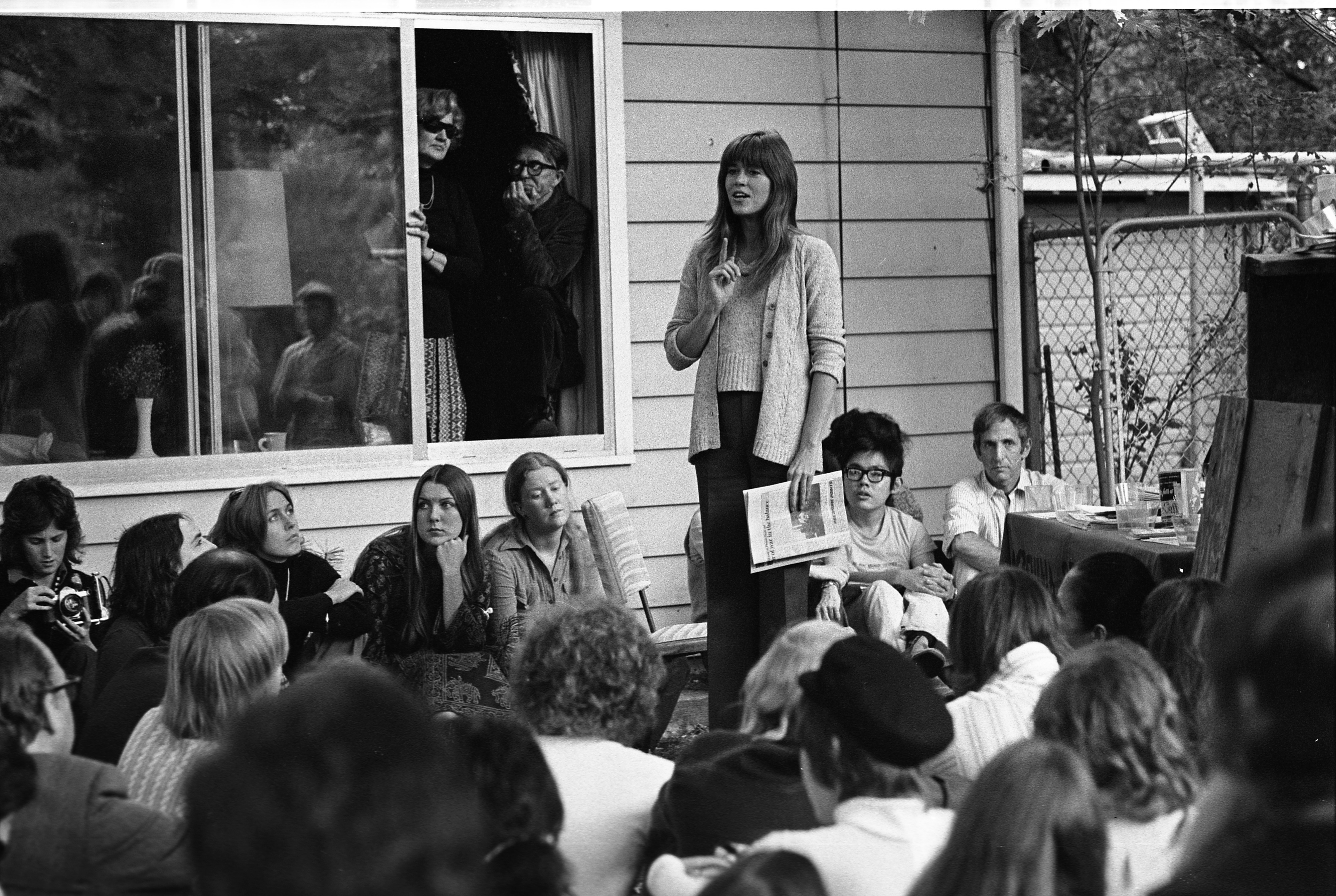 Jane Fonda Addresses Crowd At Dr. Edward Pierce's House For Fundraiser, October 1974 image