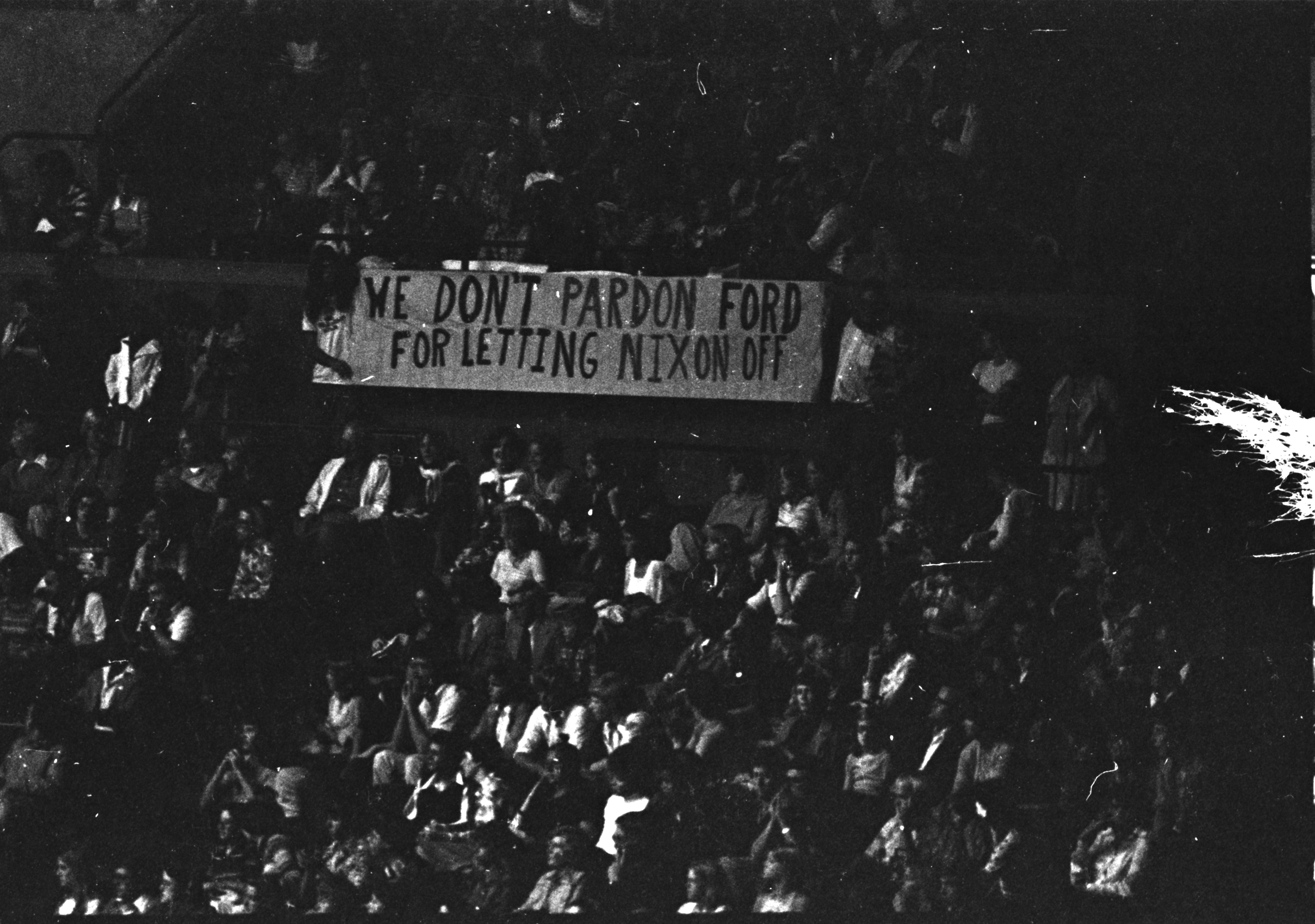 Protestors during President Gerald Ford's visit to U-M, September 1976 image