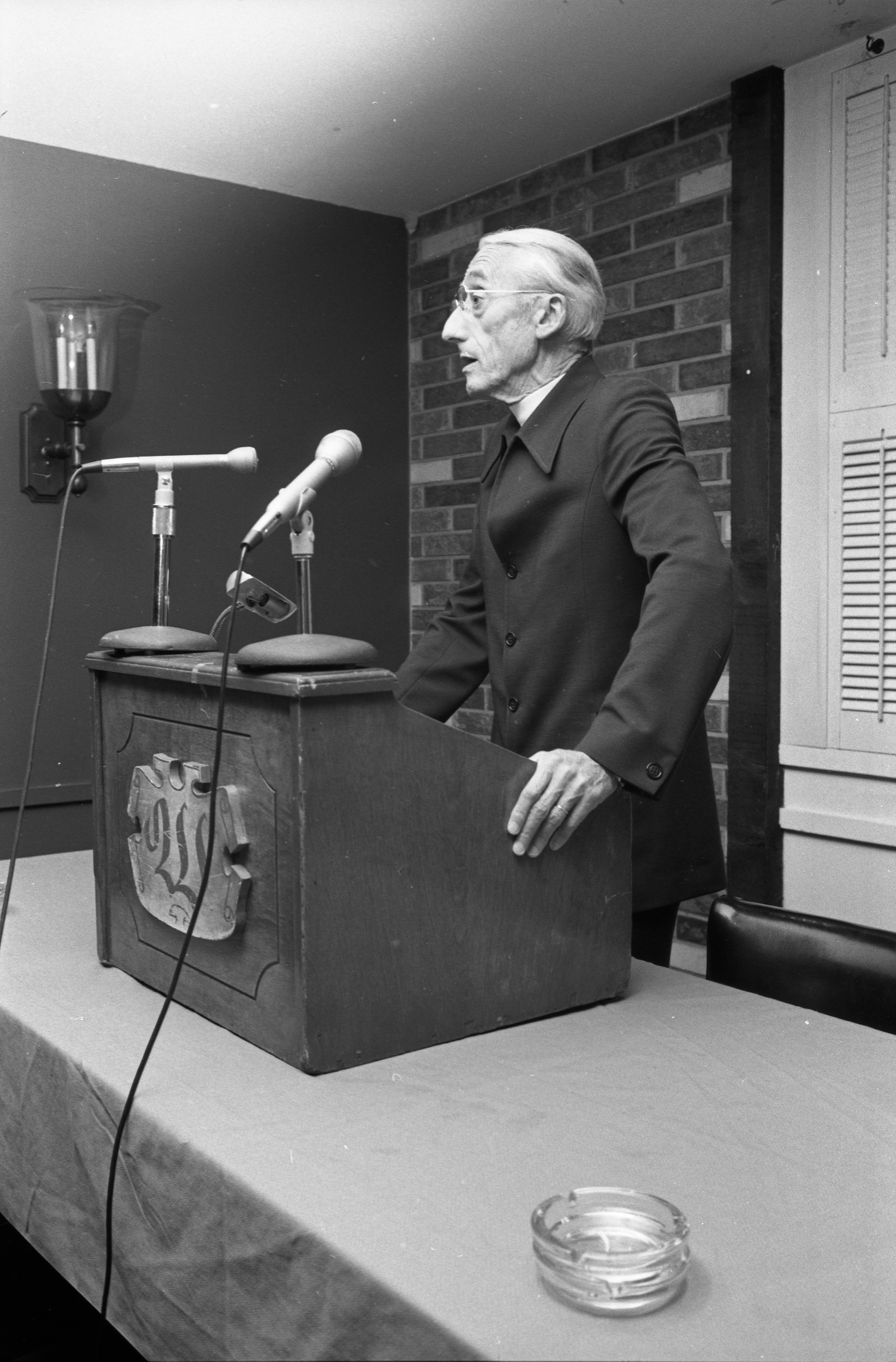 Jacques Cousteau At Speaking Engagement At Weber's, October 1975 image