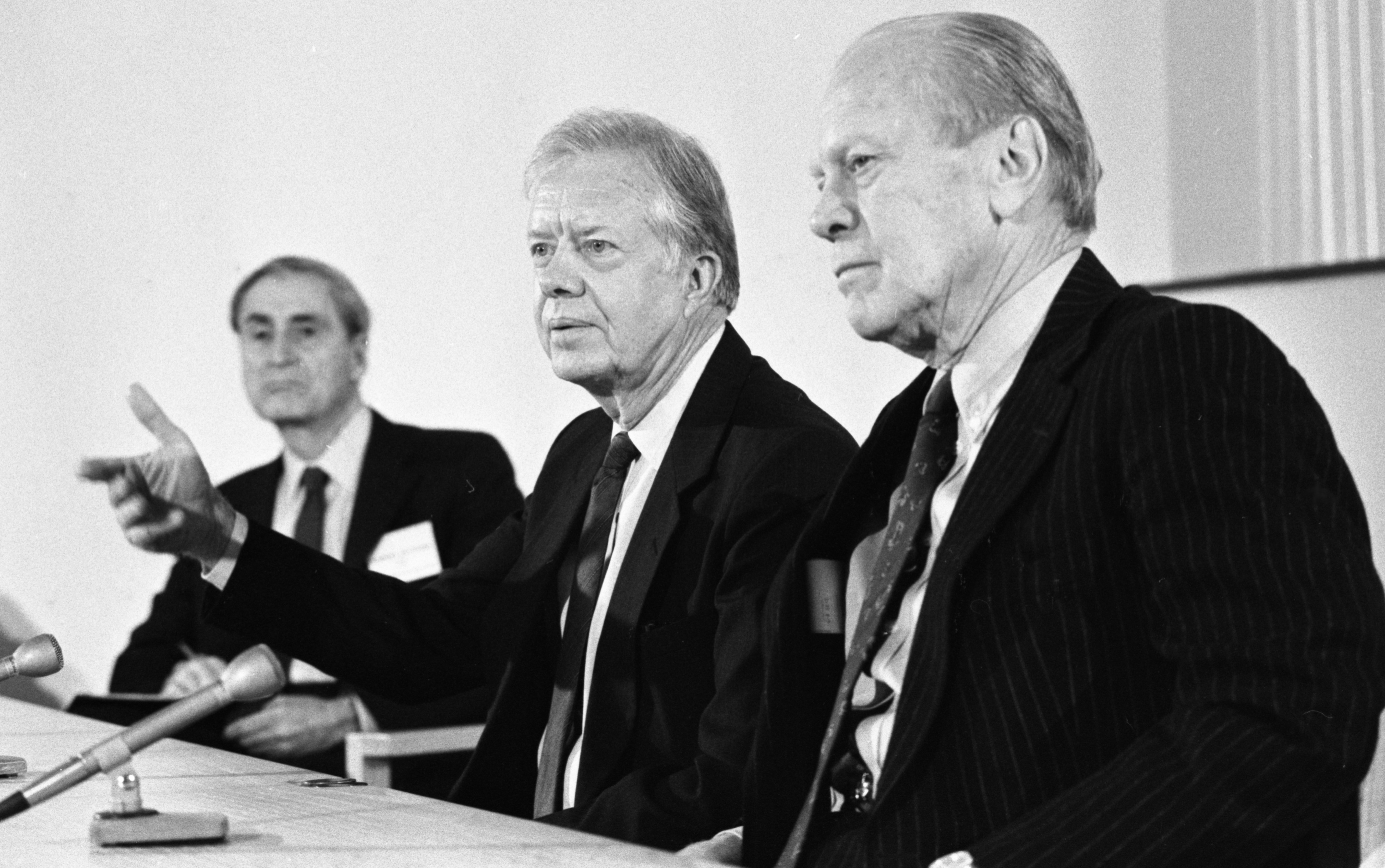 Former Presidents Gerald Ford and Jimmy Carter at All-Democracies Conference, Ann Arbor, December 1988 image