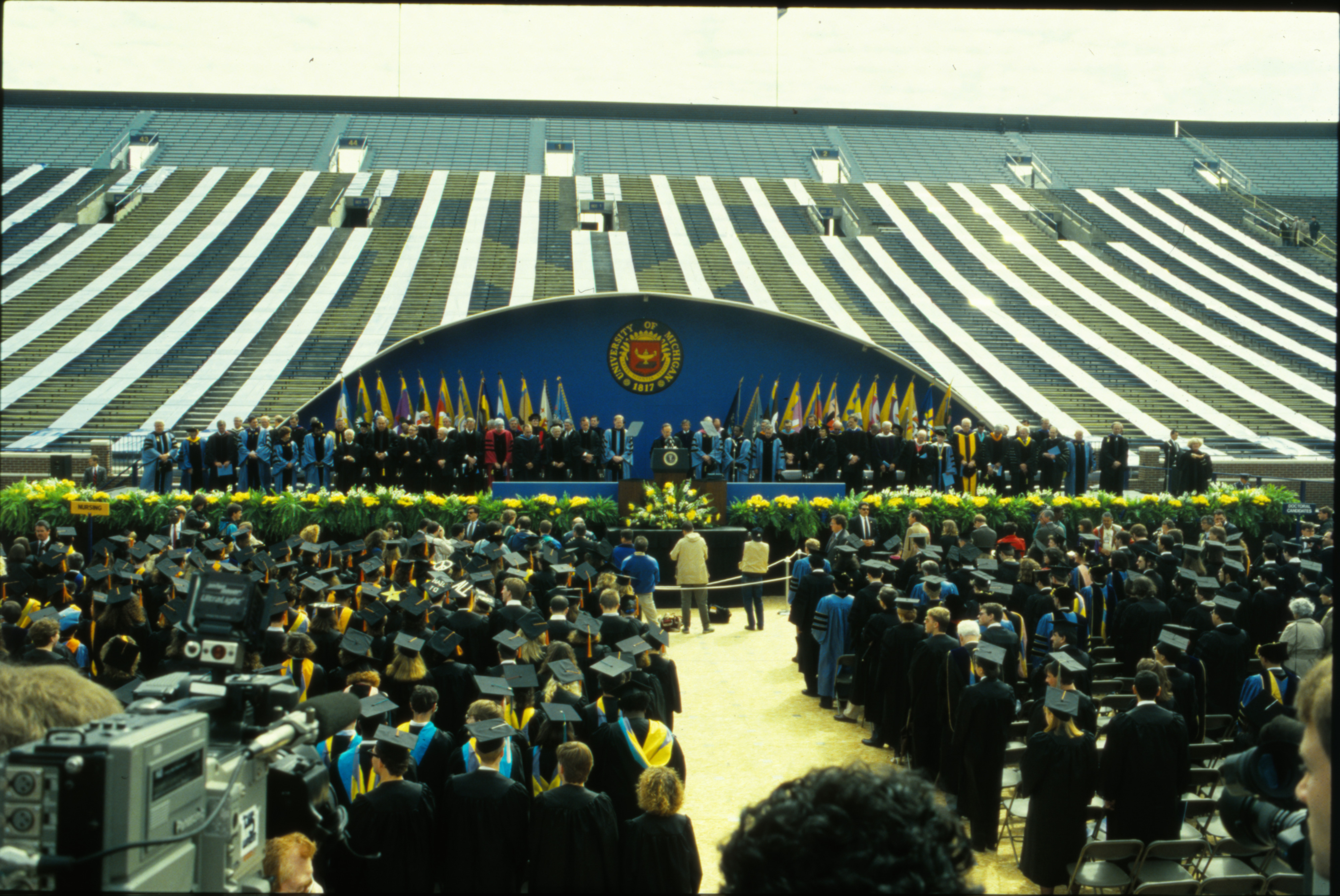 President George H. W. Bush speaking at commencement, May 4, 1991 image