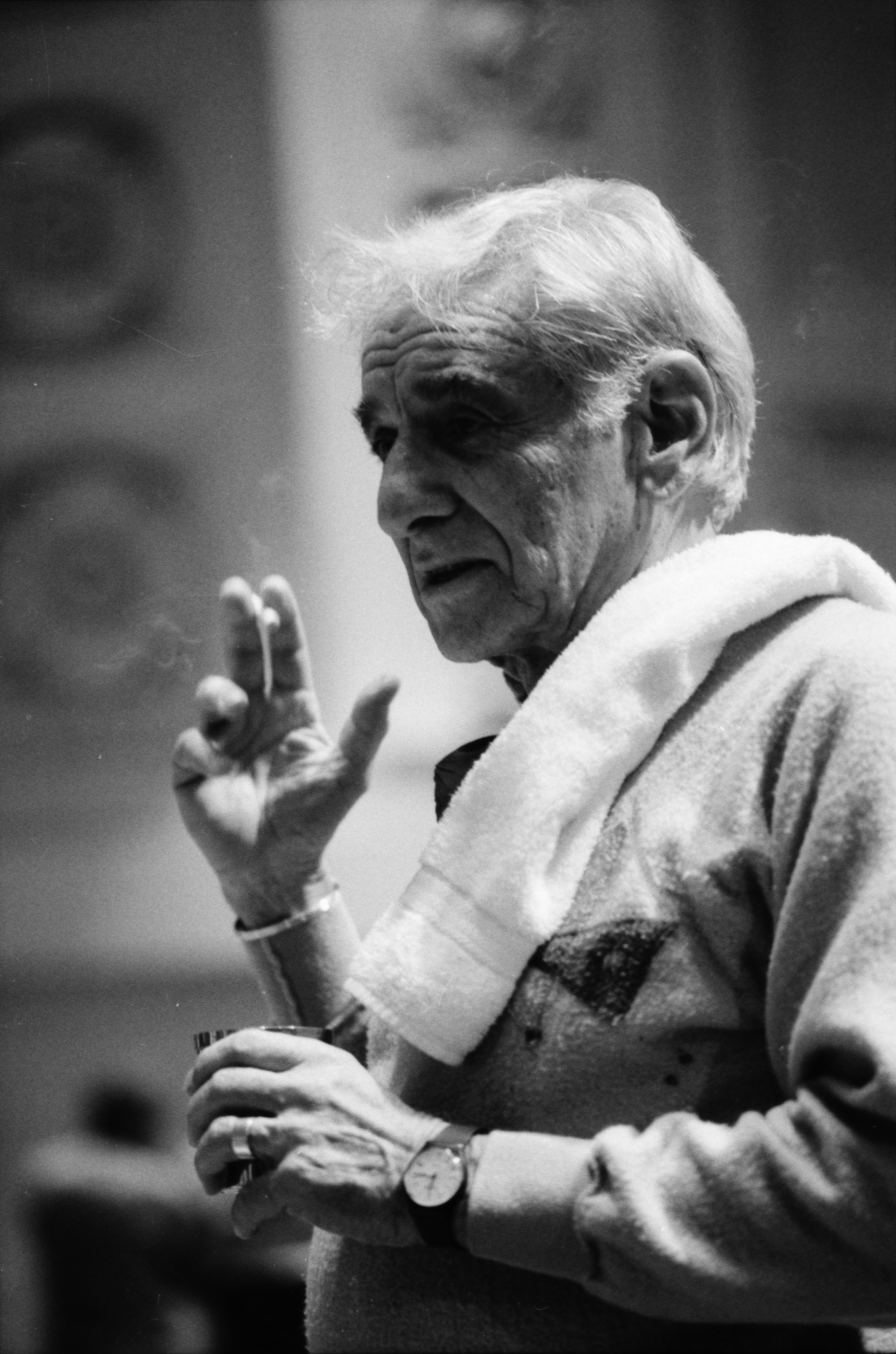 Leonard Bernstein relaxing at Hill Auditorium, February 1984 image
