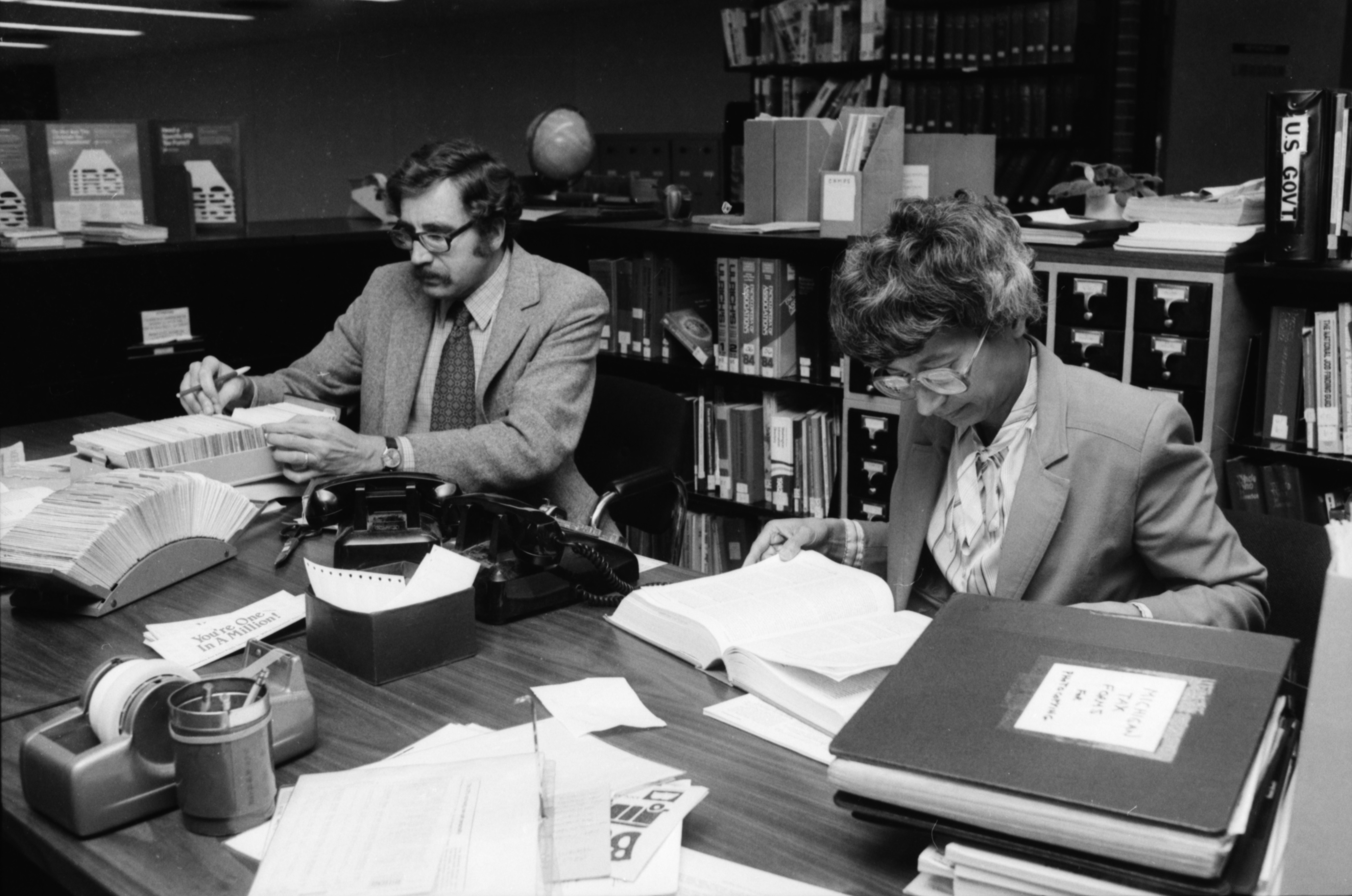 Reference Librarians Bette Thompson and Dietmar Wagner at the Ann Arbor Public Library, May 1984 image