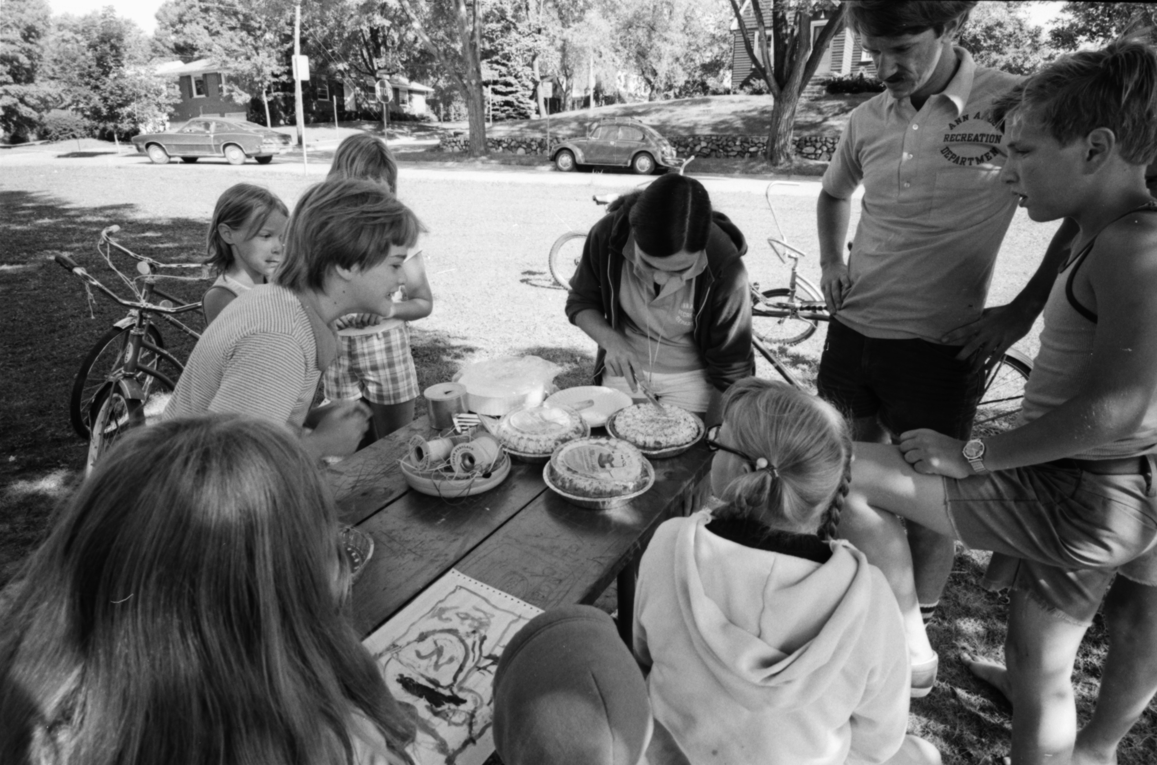 Preparing for the Pie Eating Contest at Wildwood Park, Robert Chase, July 1975 image
