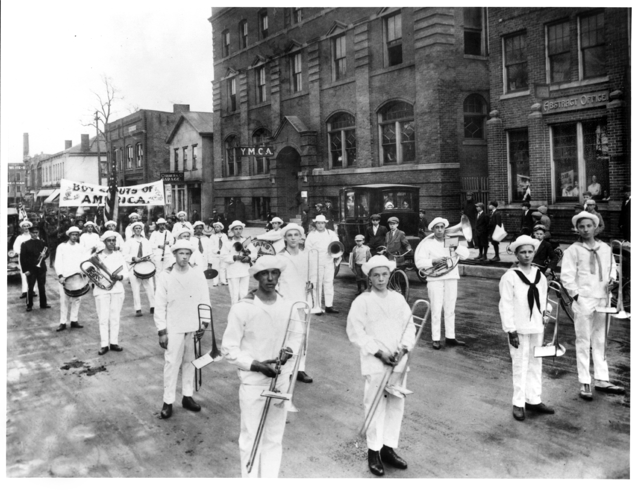 Van's Marine Band and Boy Scouts of America Parade on Fourth between Ann St. and East Huron St., ca 1916 image