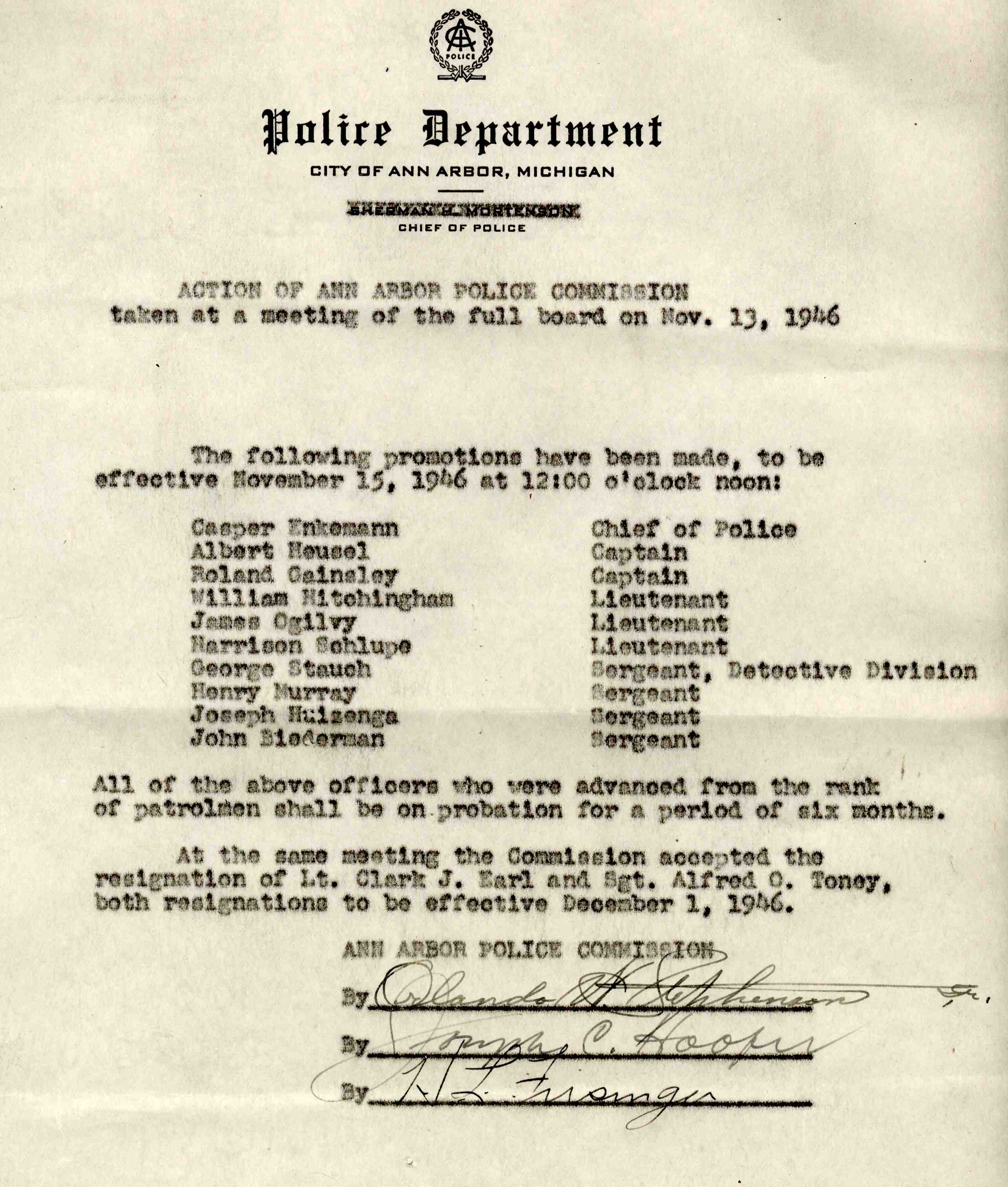 Ann Arbor Police Department Promotions List, November 13, 1946 image