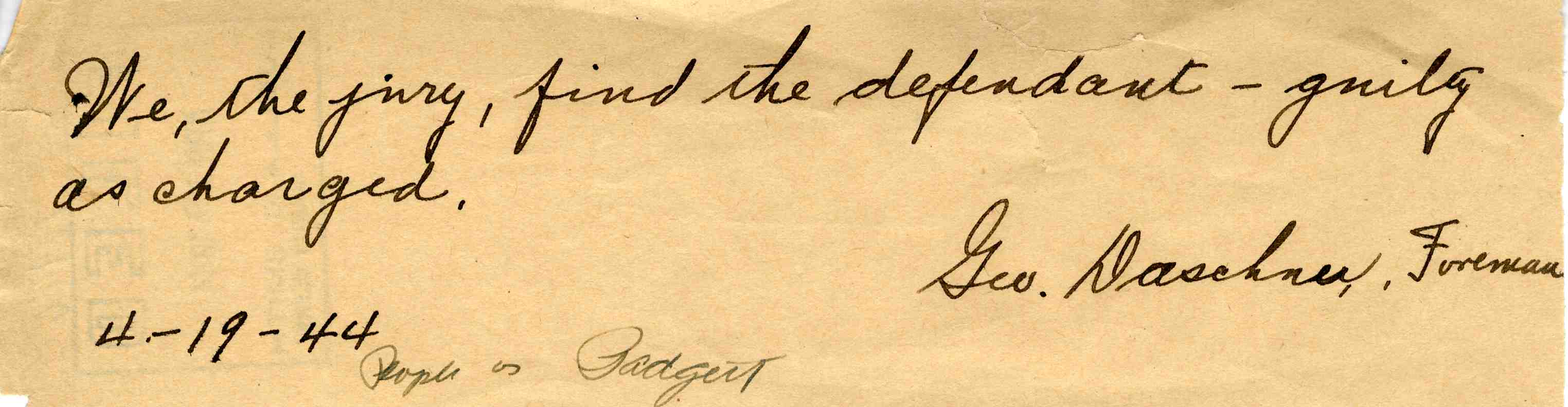 Foreman's Note To Judge Chenot In Murder Trial of William H. Padgett, April 1944 image