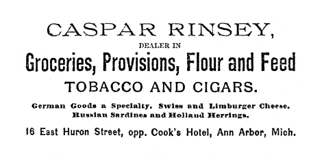 Advertisement for Caspar Rinsey, dealer in Groceries, Provisions, Flour and Feed, Tobacco and Cigars image