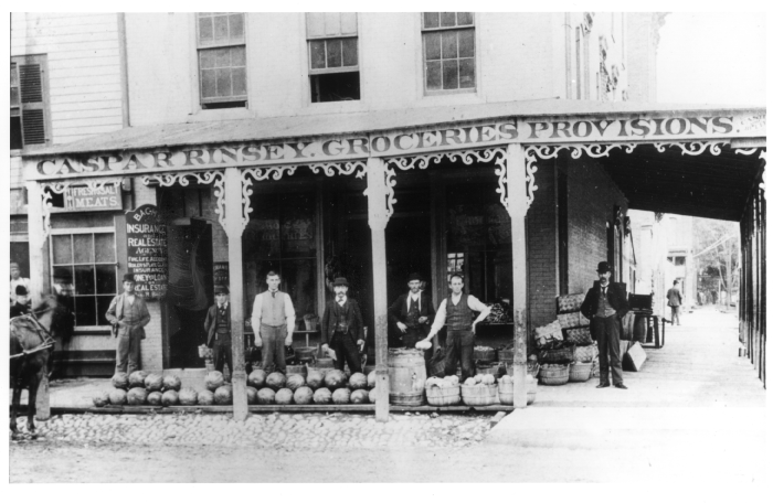 Rinsey's Grocery at Corner of East Huron St. & South Fourth Ave., ca. 1880 image
