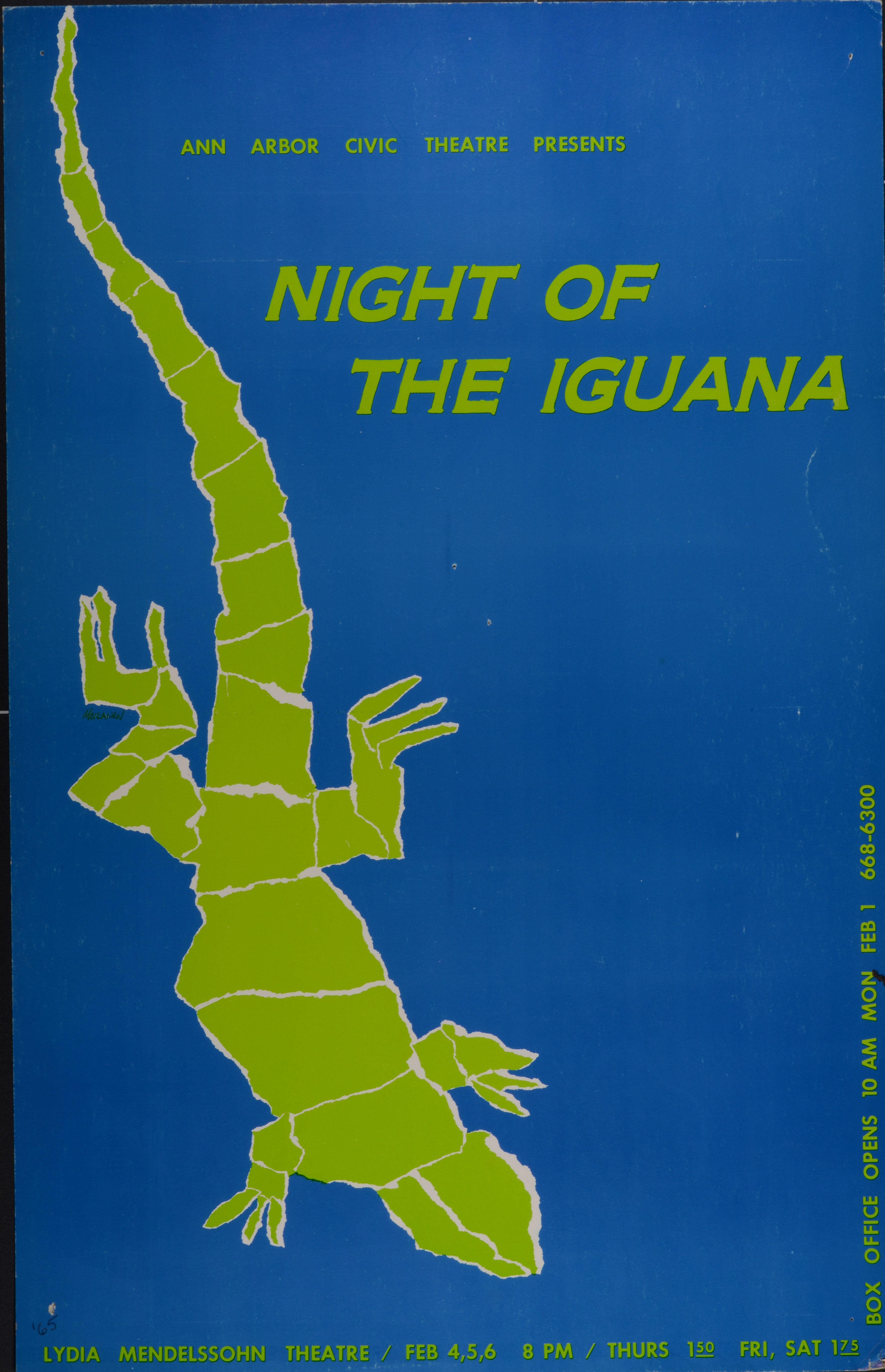 Ann Arbor Civic Theatre Poster: Night of the Iguana image