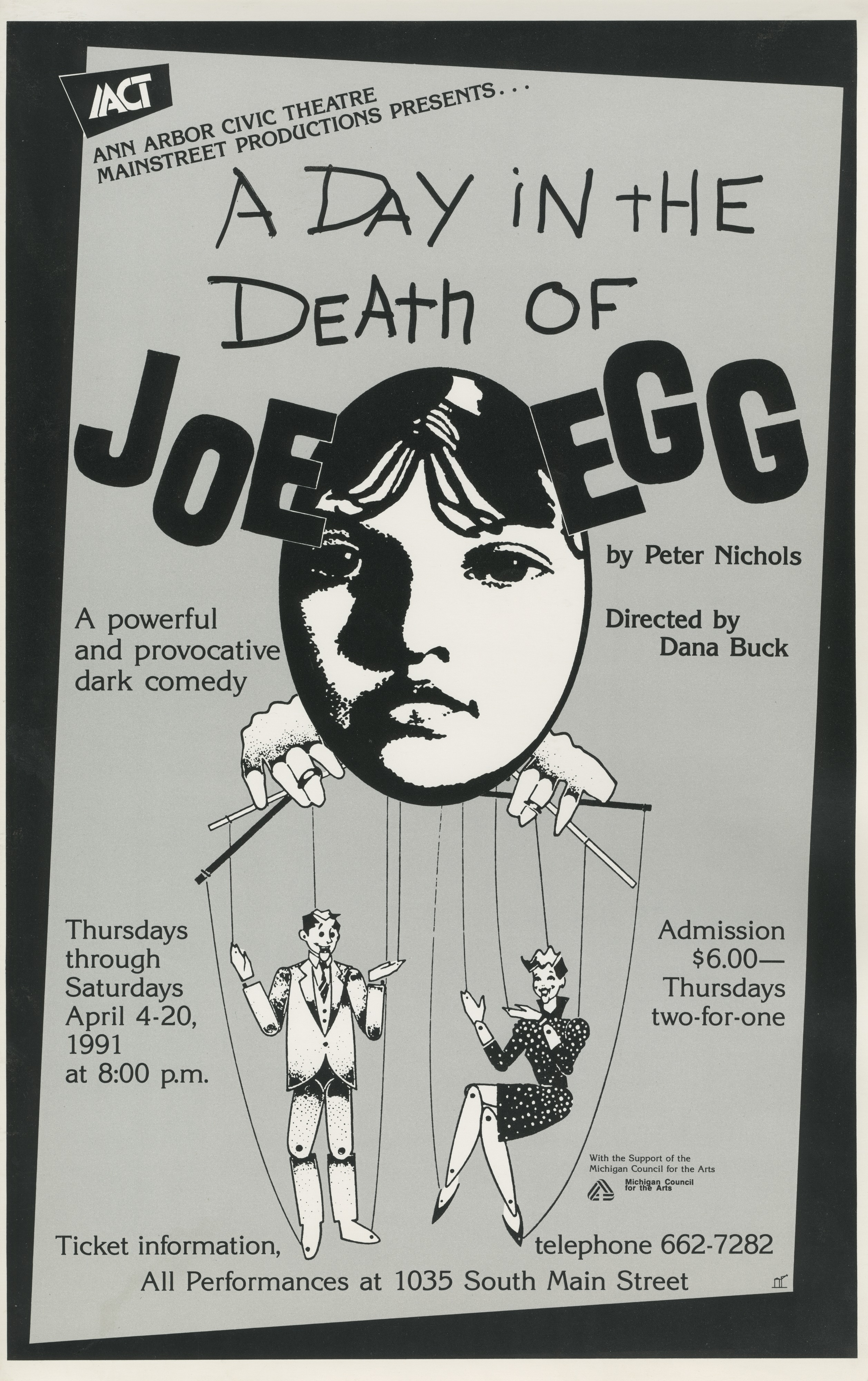 Ann Arbor Civic Theatre Poster: A Day in the Death of Joe Egg image