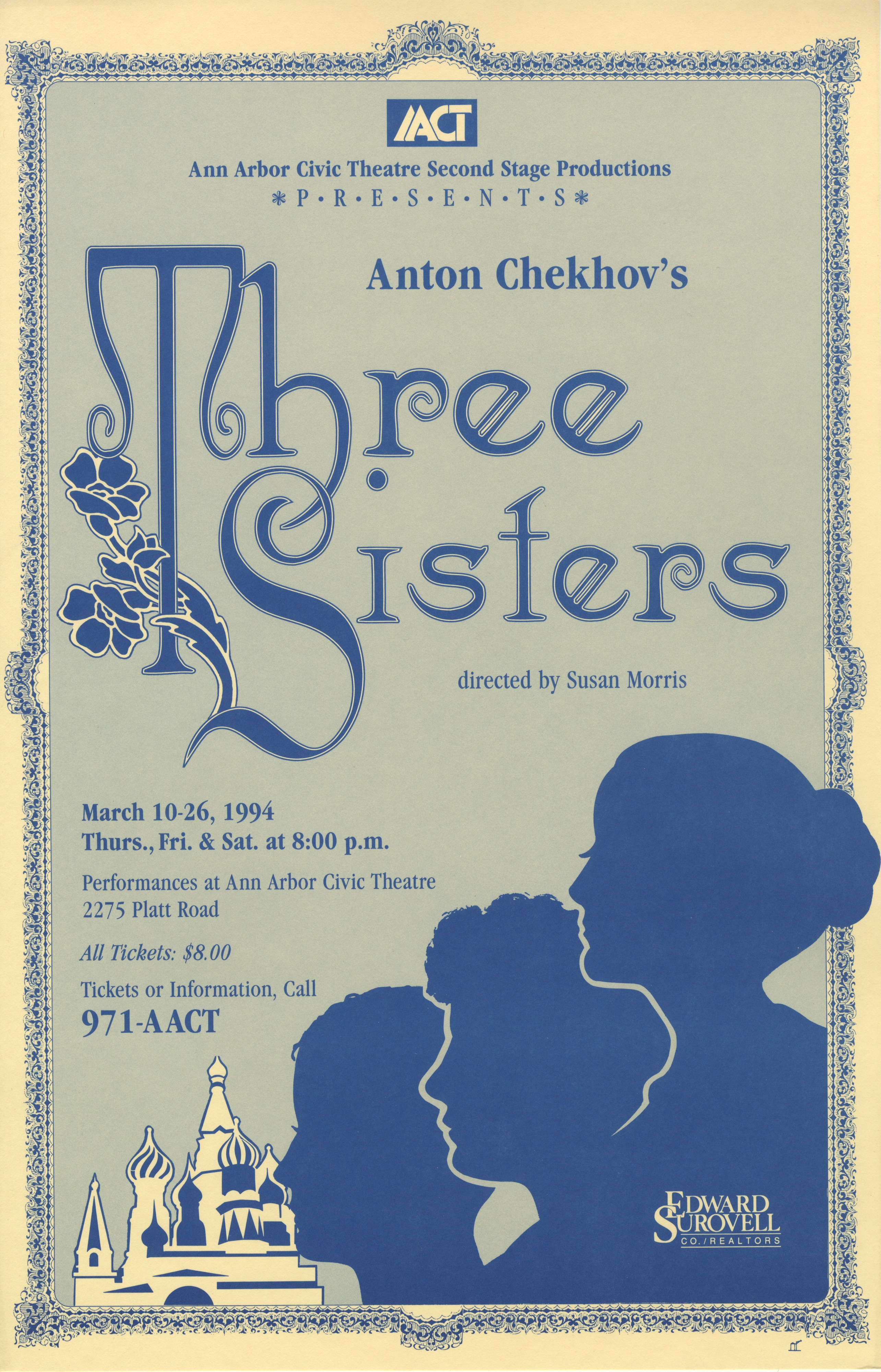 Ann Arbor Civic Theatre Poster: Three Sisters image