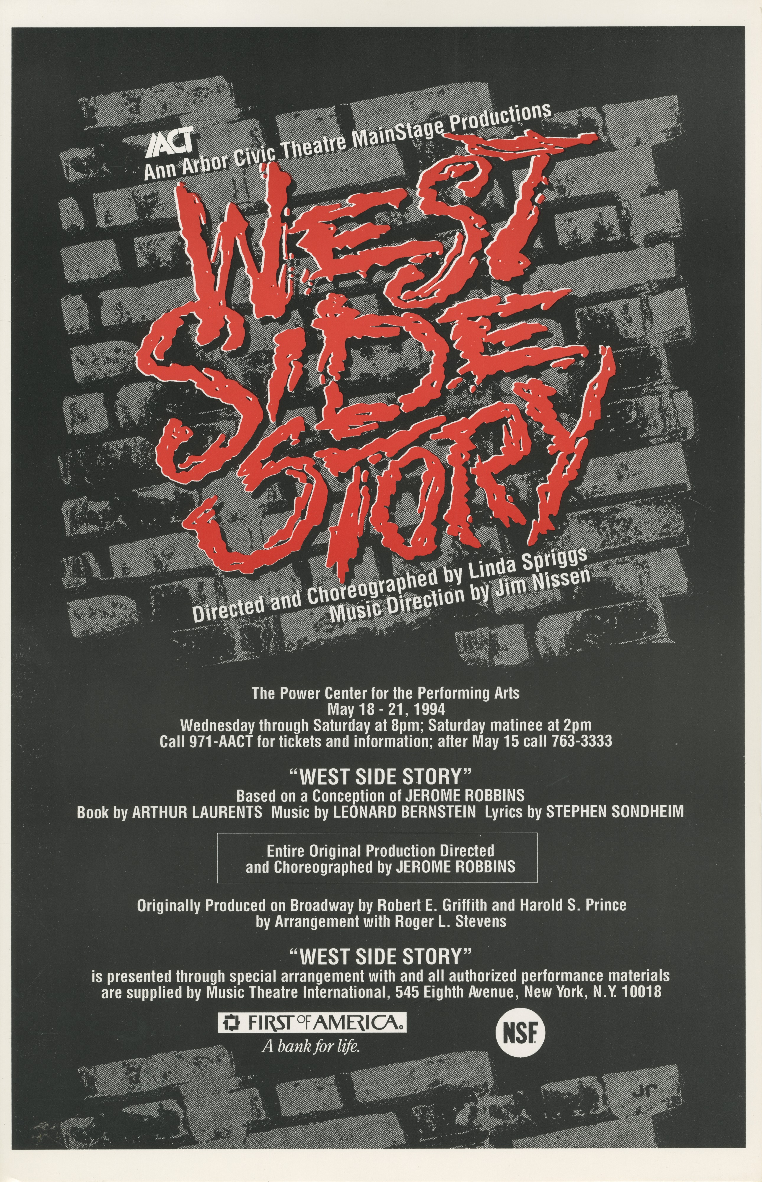 Ann Arbor Civic Theatre Poster: West Side Story image
