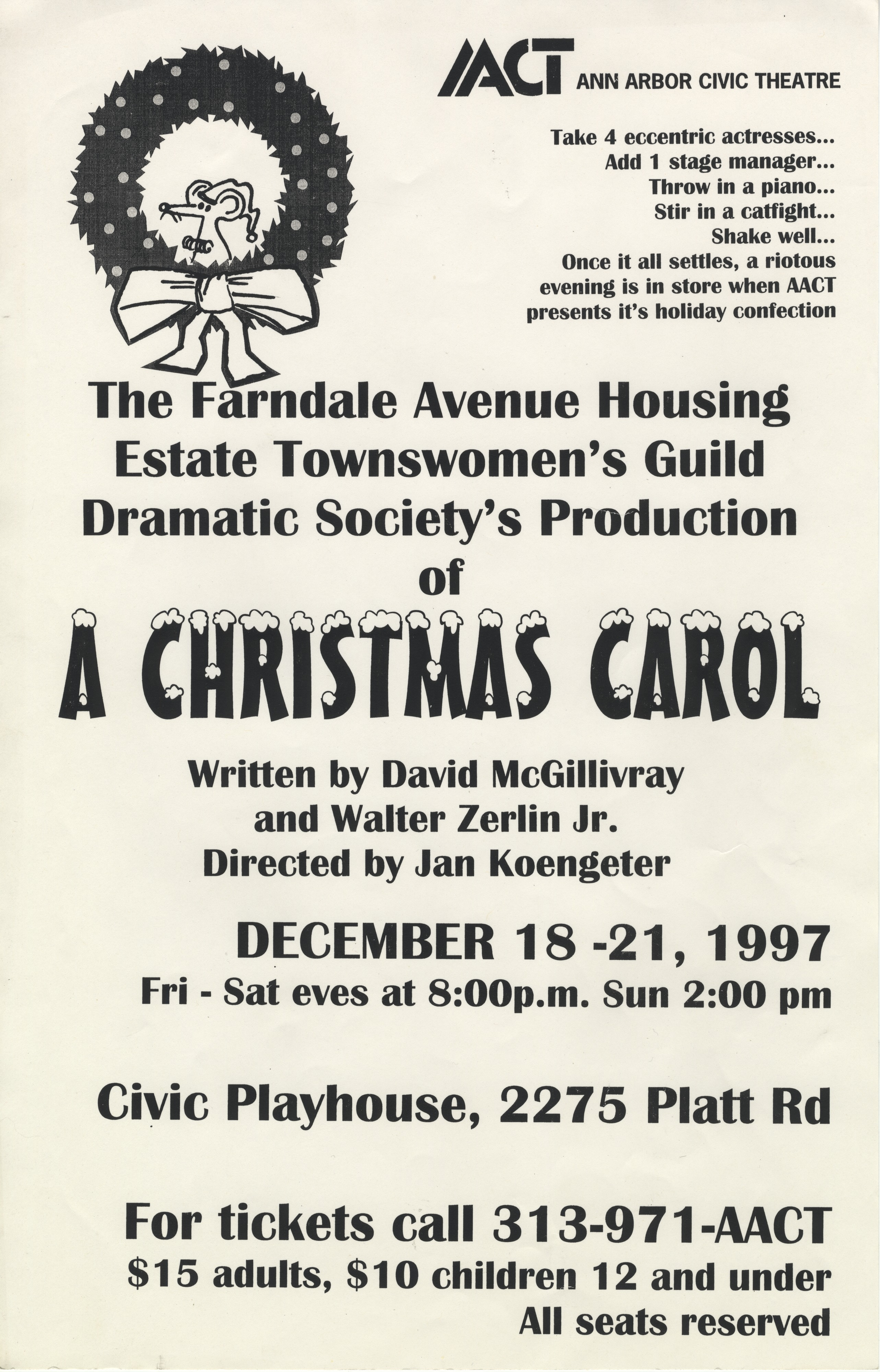 Ann Arbor Civic Theatre Poster: A Christmas Carol image
