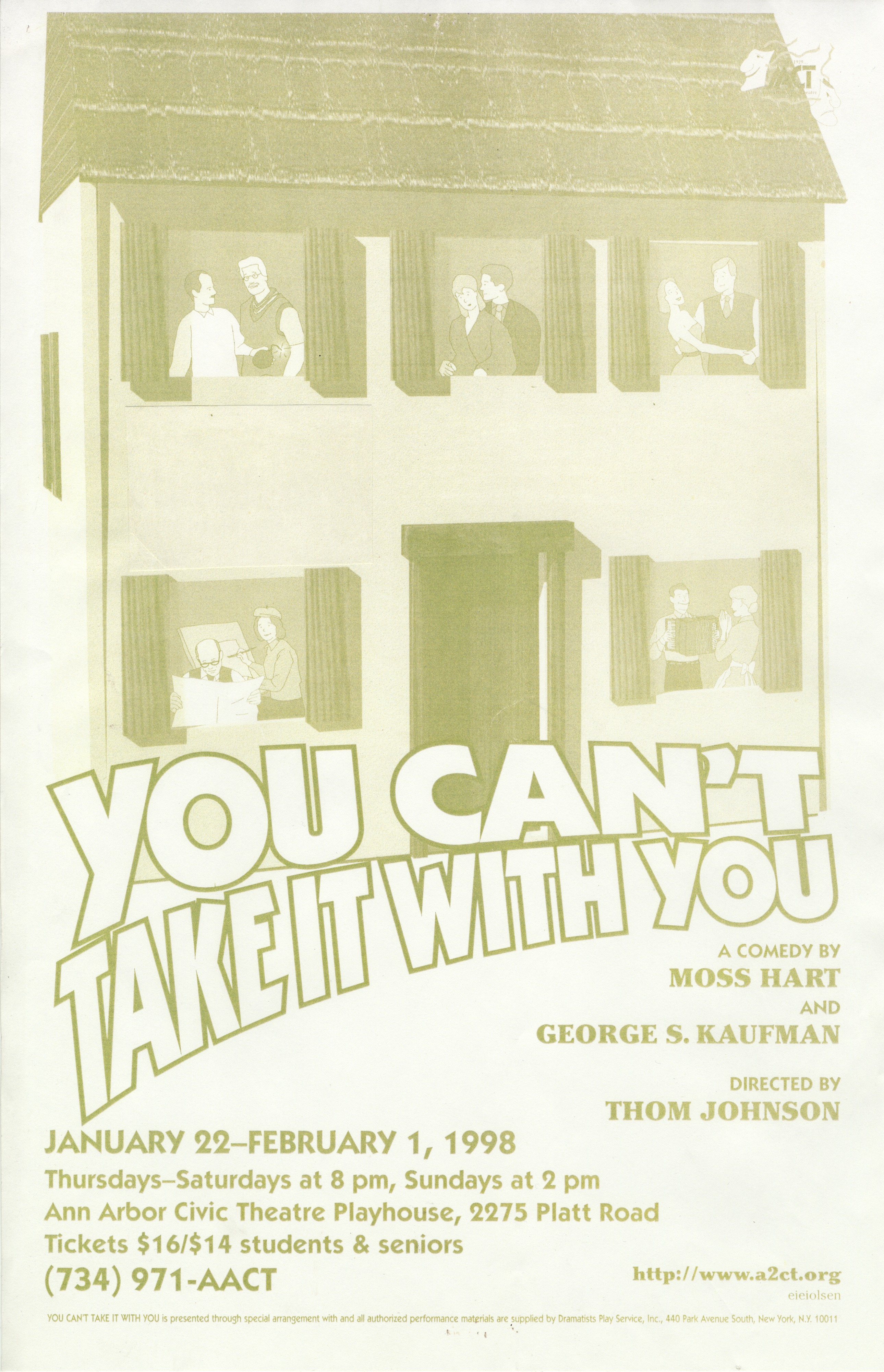 Ann Arbor Civic Theatre Poster: You Can't Take it With You image