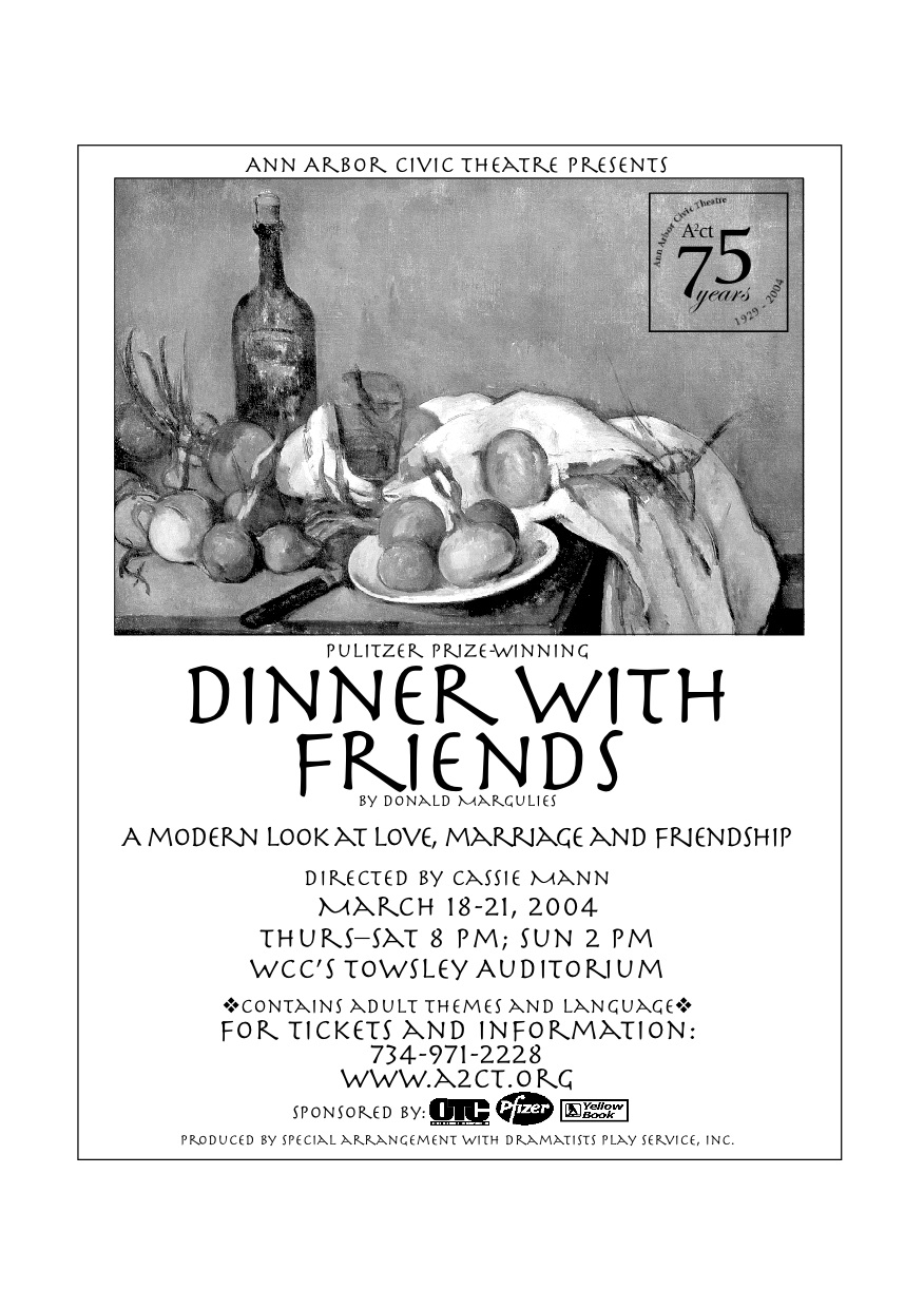Ann Arbor Civic Theatre Poster: Dinner With Friends image